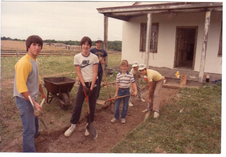 Boy Scouts making a path, August 1983