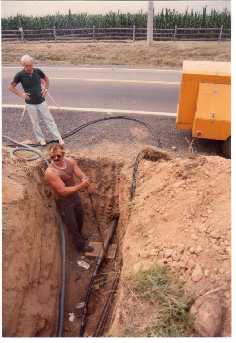 Electric lines being installed, 1983
