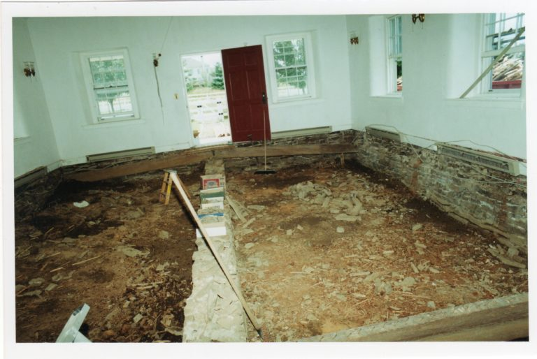 Interior floorboards being replaced, 2000