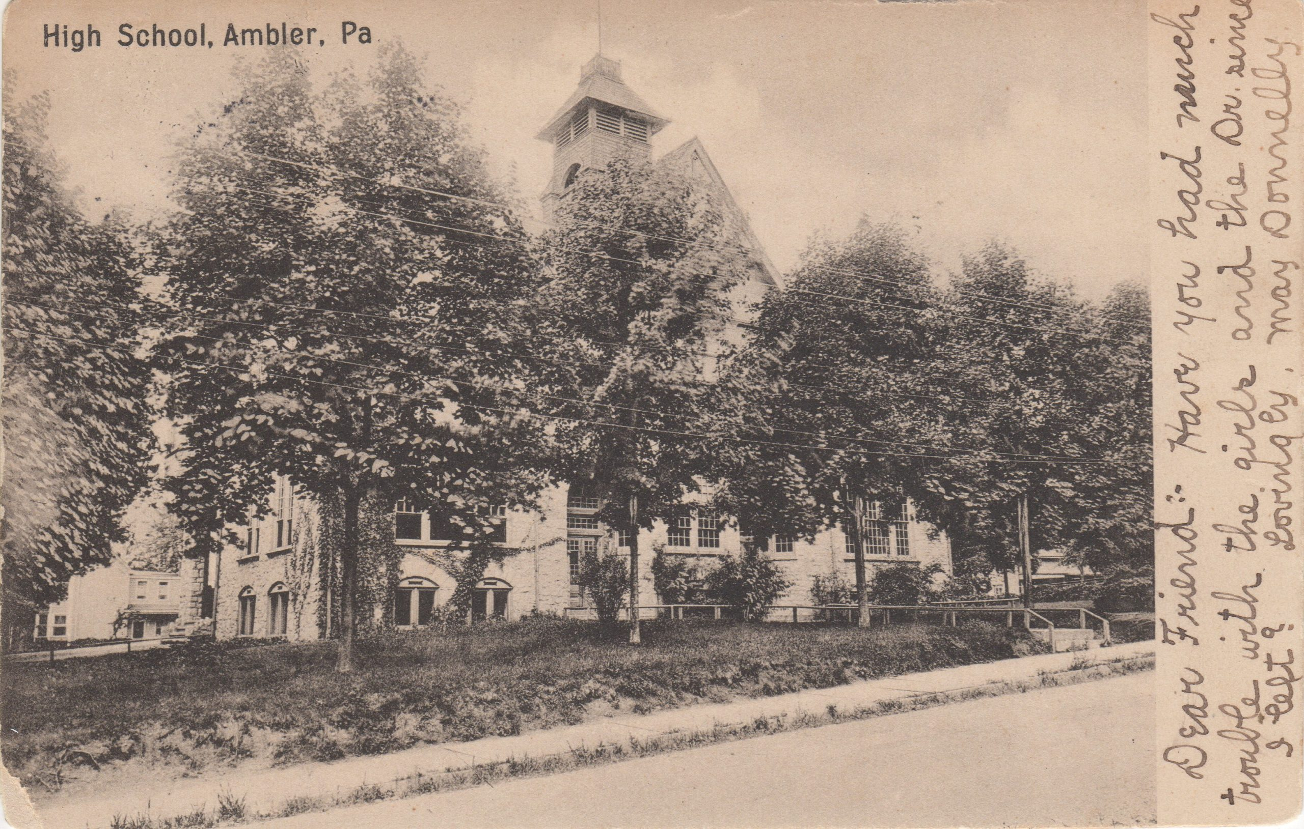4125.1 Ambler Pa Postcard_Ambler Forest Avenue High School_circa 1907
