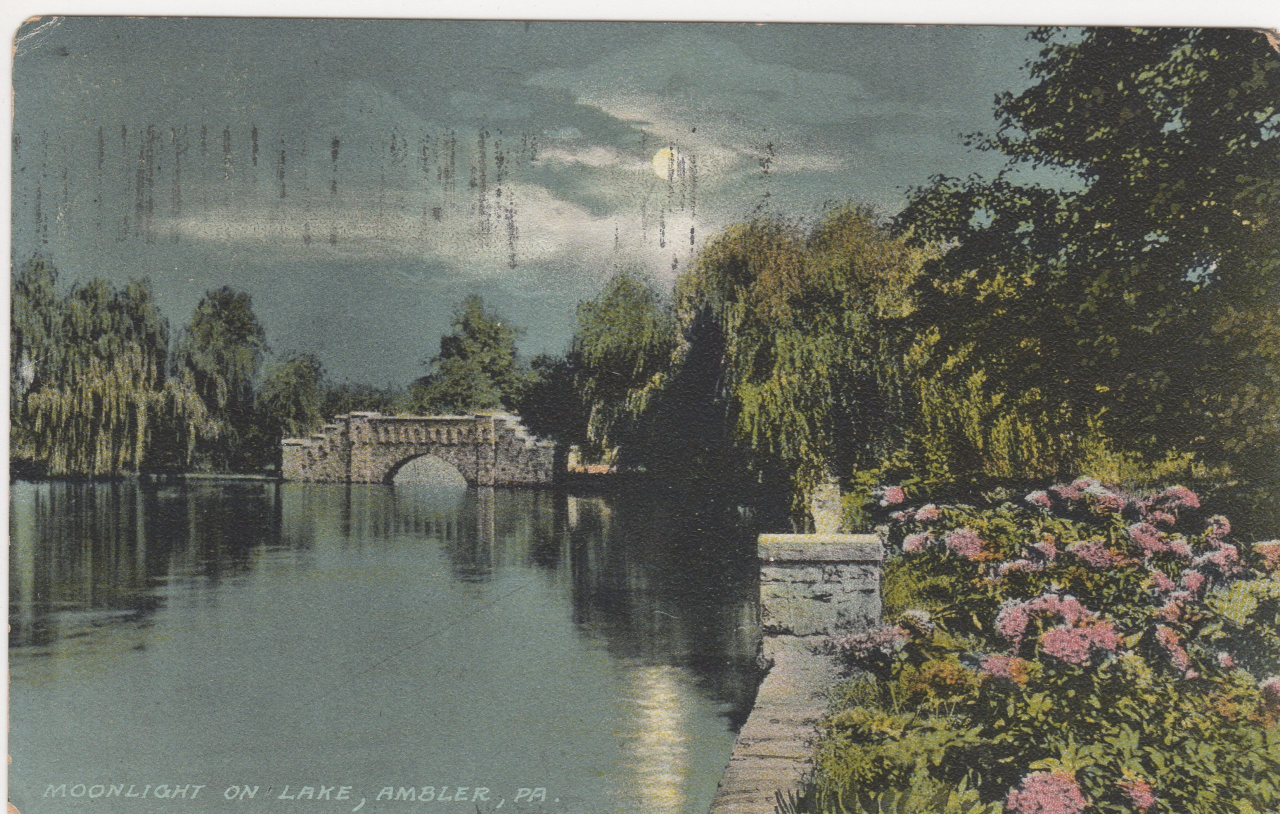 4125.104 Ambler Pa Postcard_Moonlight on Lake (Loch Linden)_circa 1910