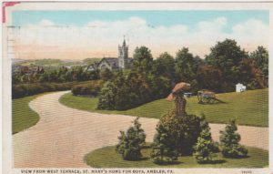 4125.113 Ambler Pa Postcard_View from West Terrace St Mary's Home for Boys (Formerly Lindenwold)_ circa 1937