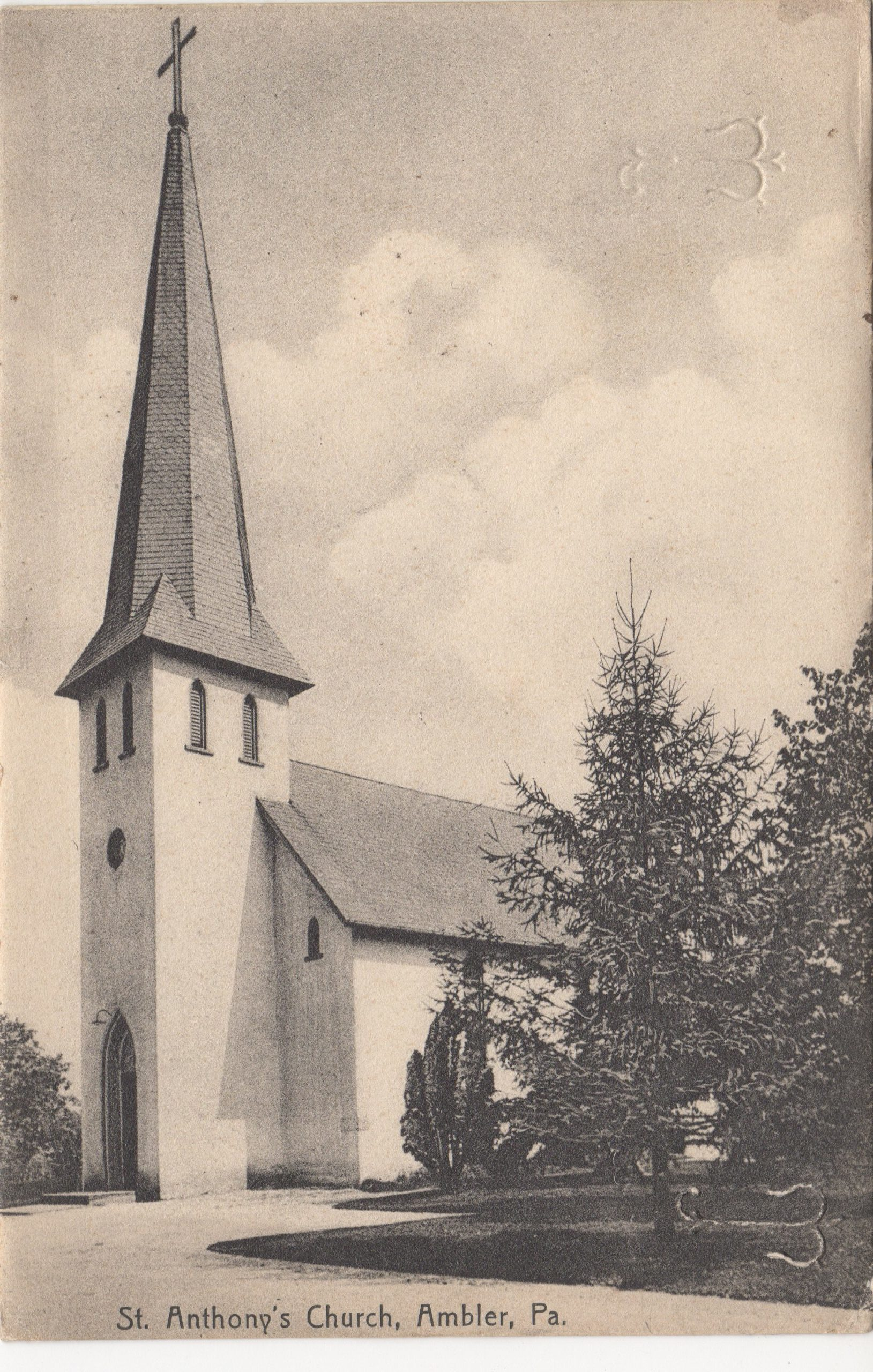 4125.15 Ambler Pa Postcard_St Anthony's Church_circa 1911
