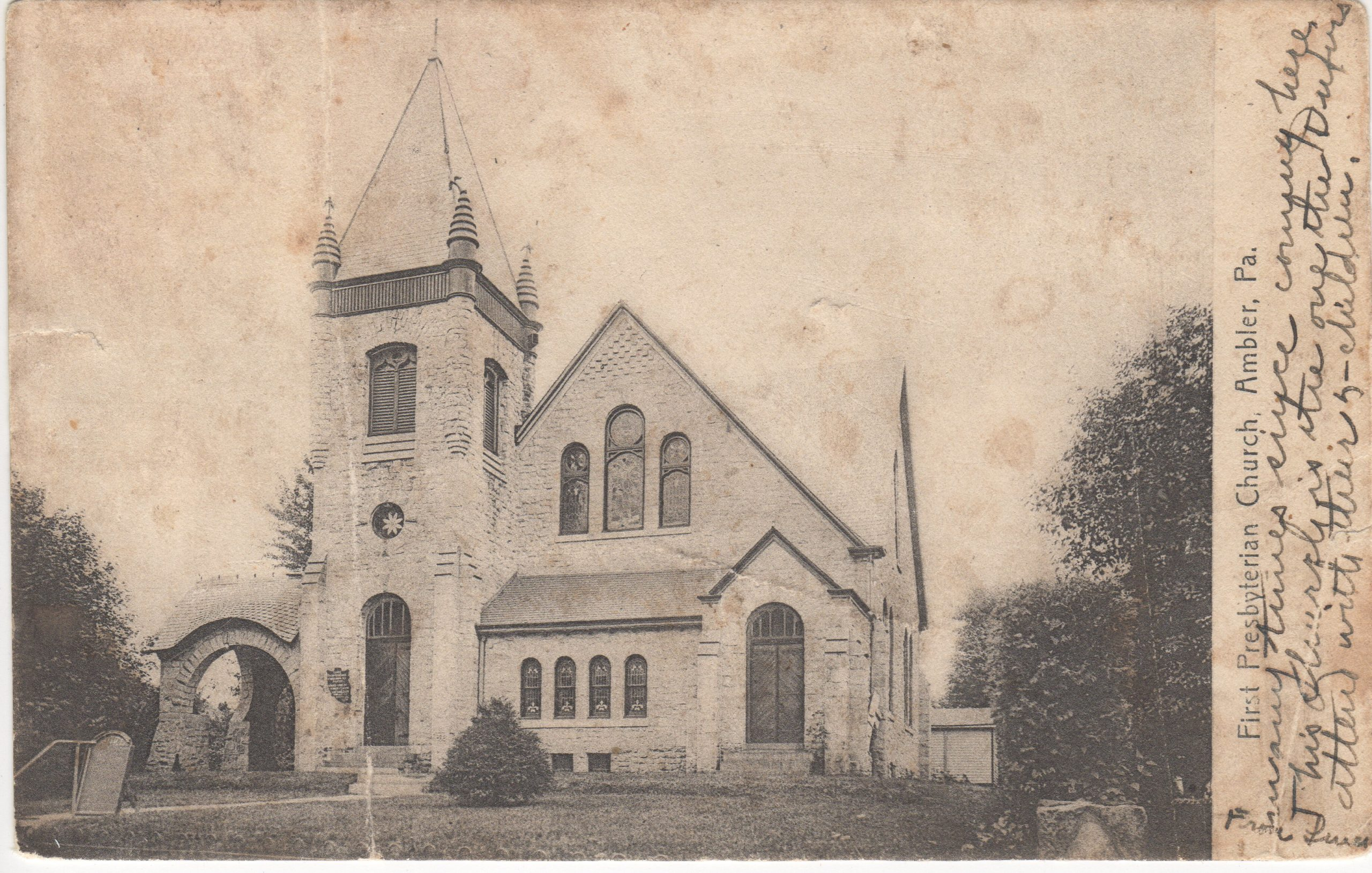 4125.17 Ambler Pa Postcard_First Presbyterian Church (2)