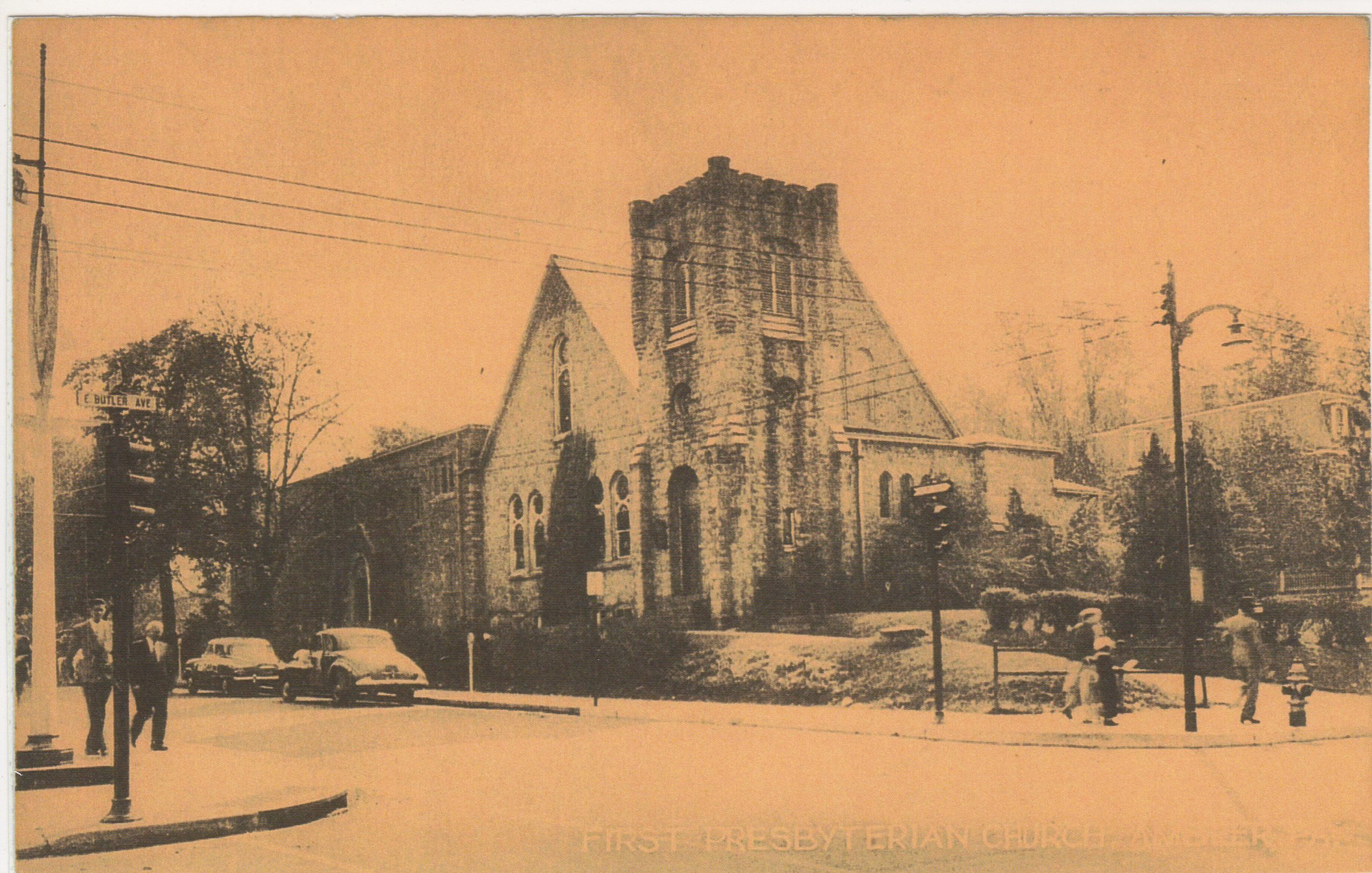 4125.18 Ambler Pa Postcard_First Presbyterian Church_circa 1952