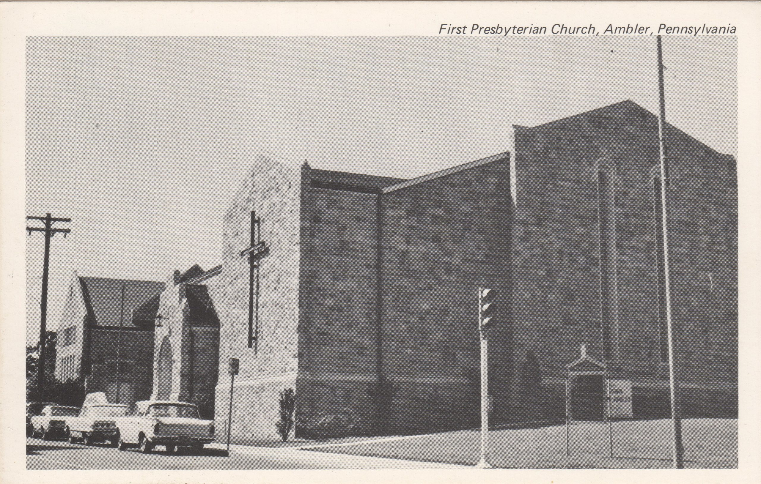 4125.19 Ambler Pa Postcard_First Presbyterian Church_circa 1963