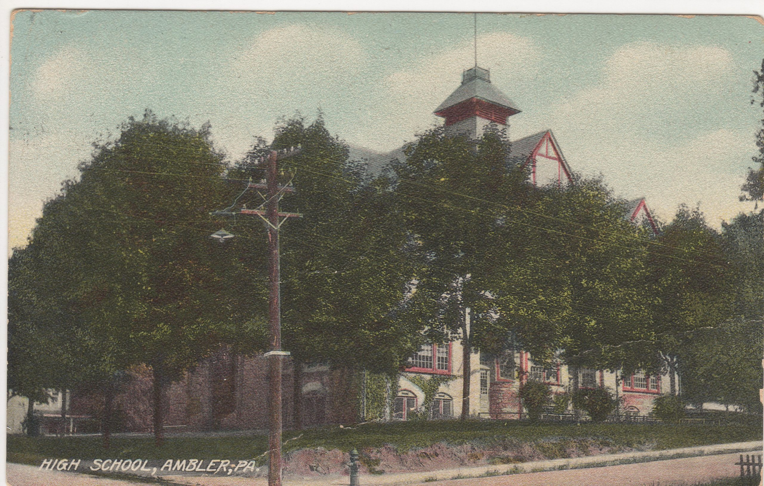 4125.2 Ambler Pa Postcard_Ambler Forest Avenue High School_circa 1910 (2)