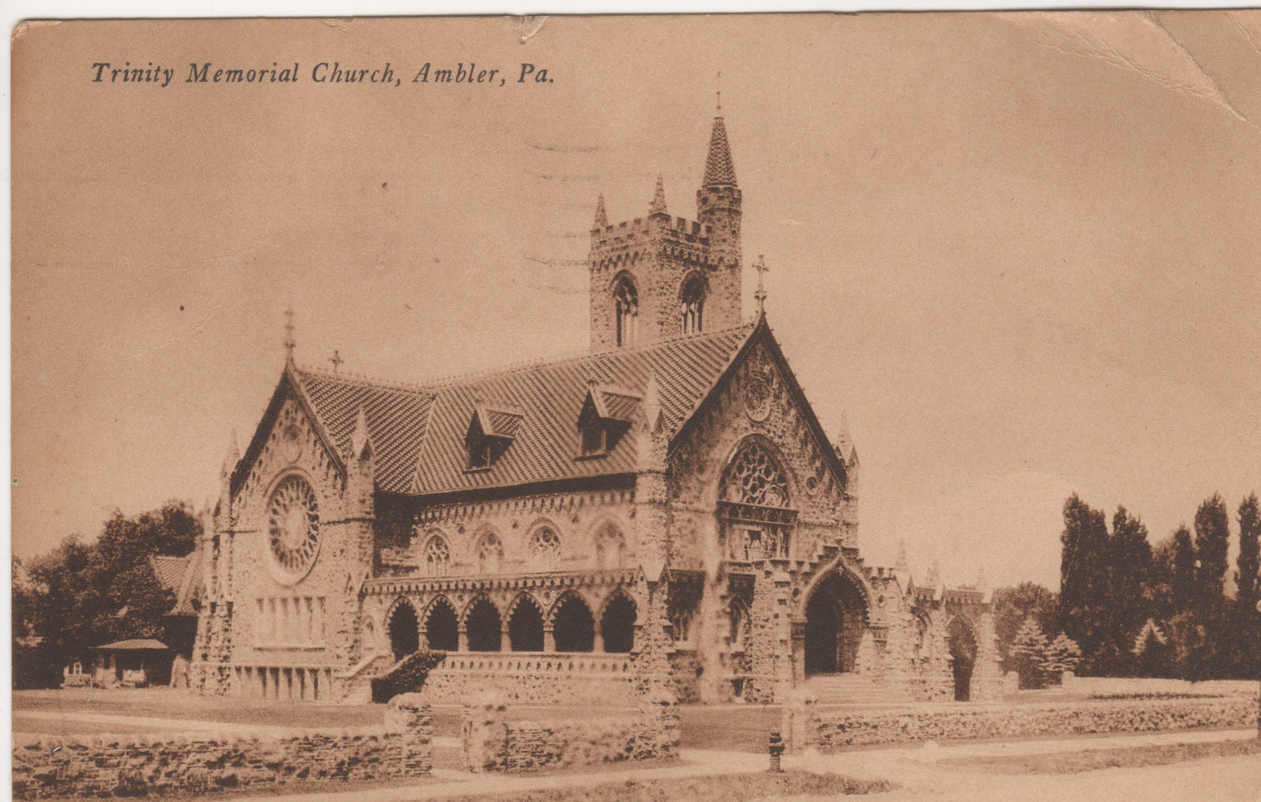 4125.20 Ambler Pa Postcard_Trinity Memorial (Episcopal) Church_circa 1926