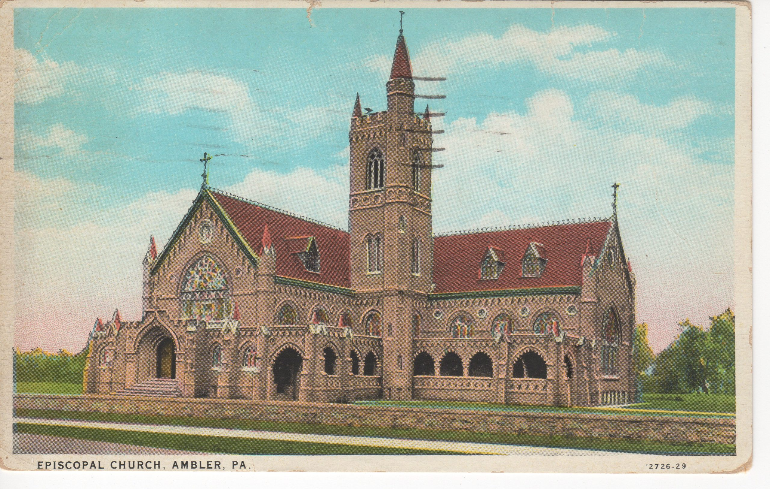 4125.21 Ambler Pa Postcard_Trinity Episcopal Church_circa 1944