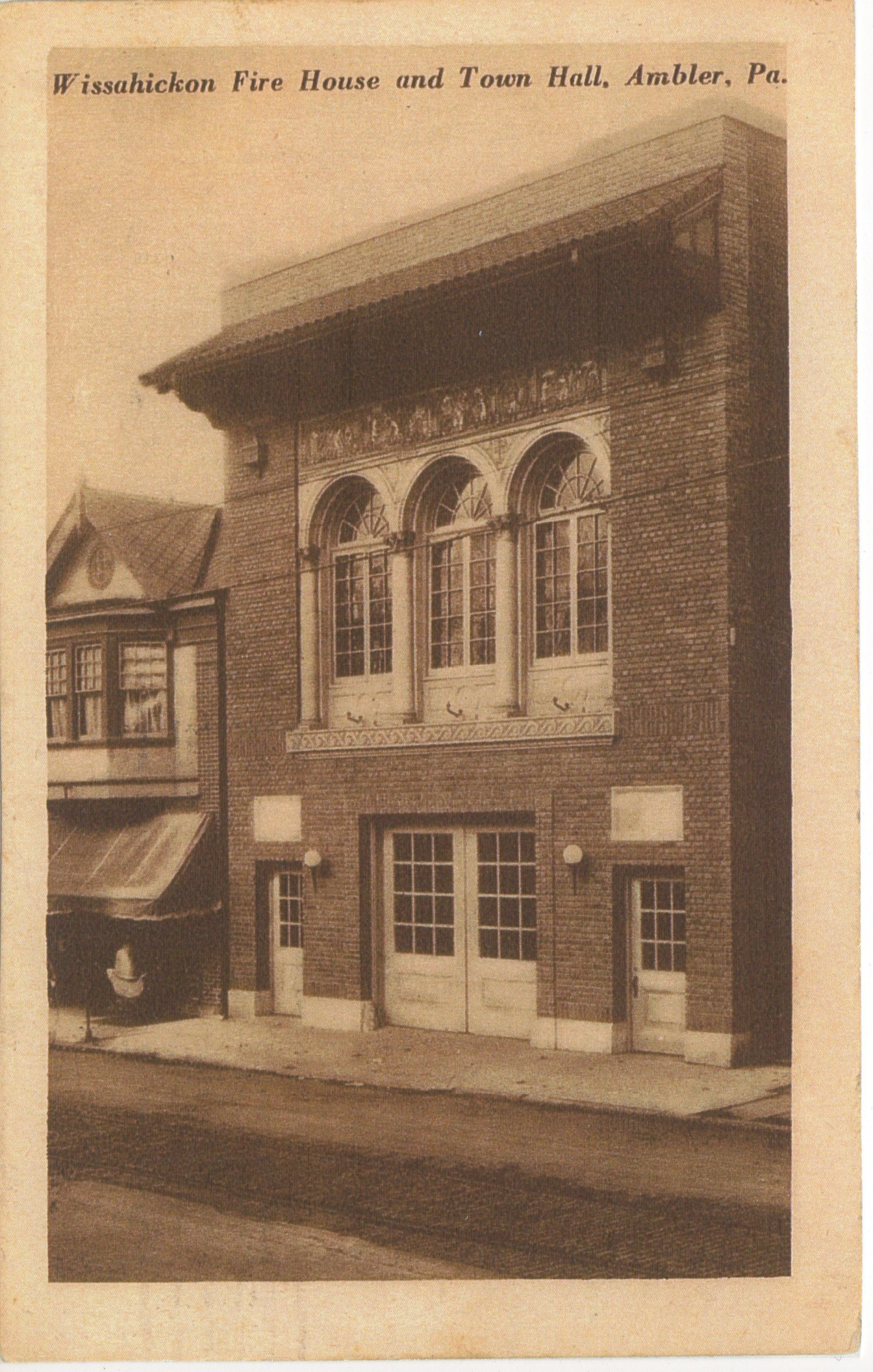 4125.28 Ambler Pa Postcard_Wissahickon Fire House & Town Hall