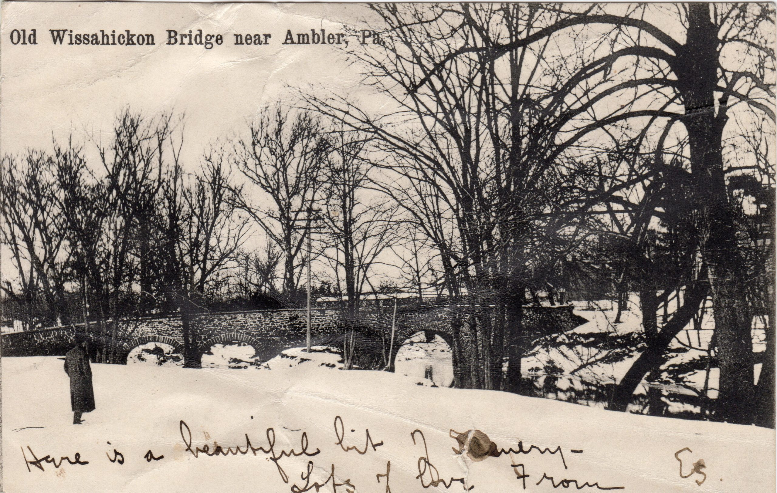 4125.34 Ambler Pa Postcard_Old Wissahickon Bridge Near Ambler_circa 1906