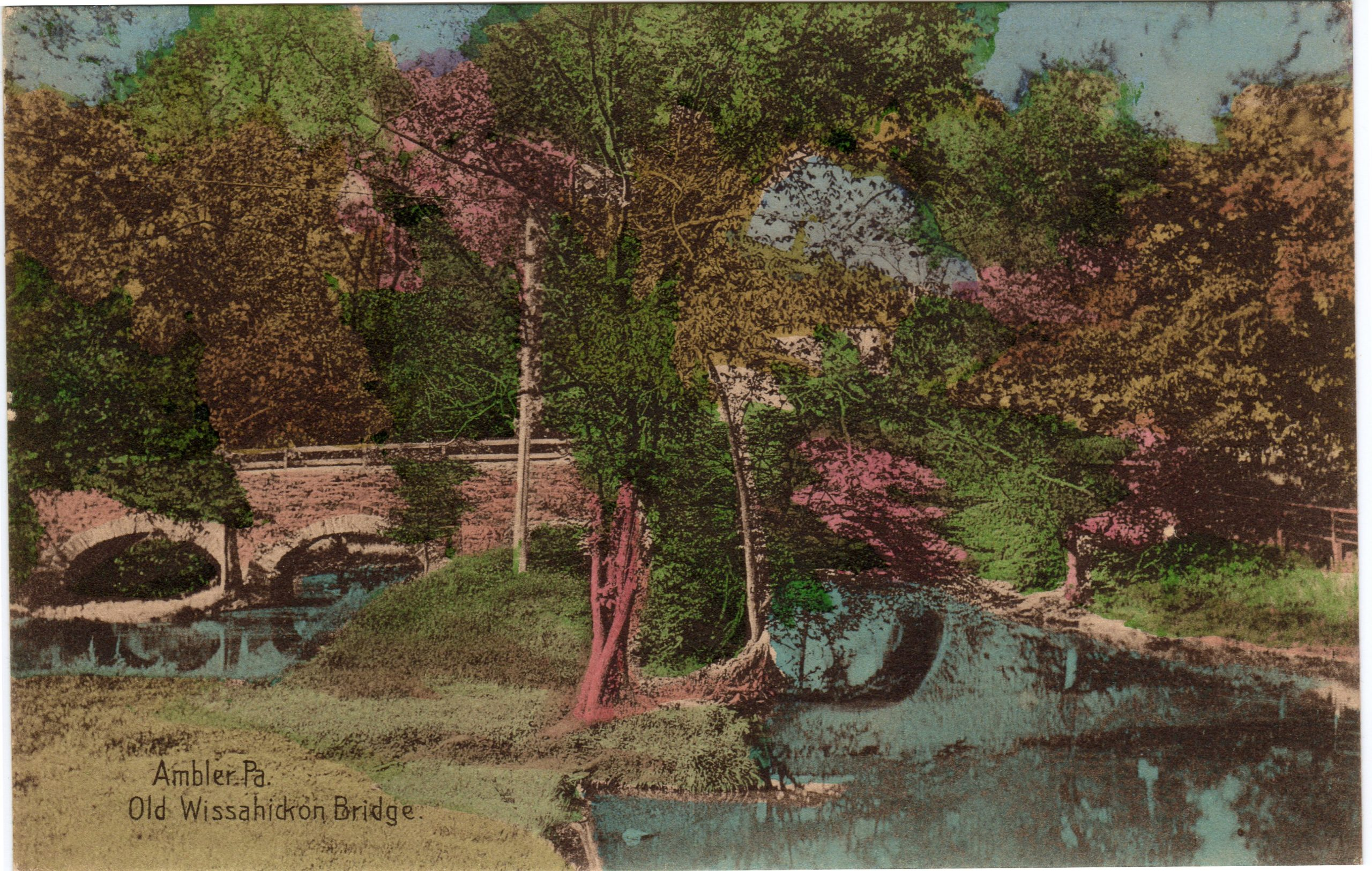 4125.36 Ambler Pa Postcard_Old Wissahickon Bridge