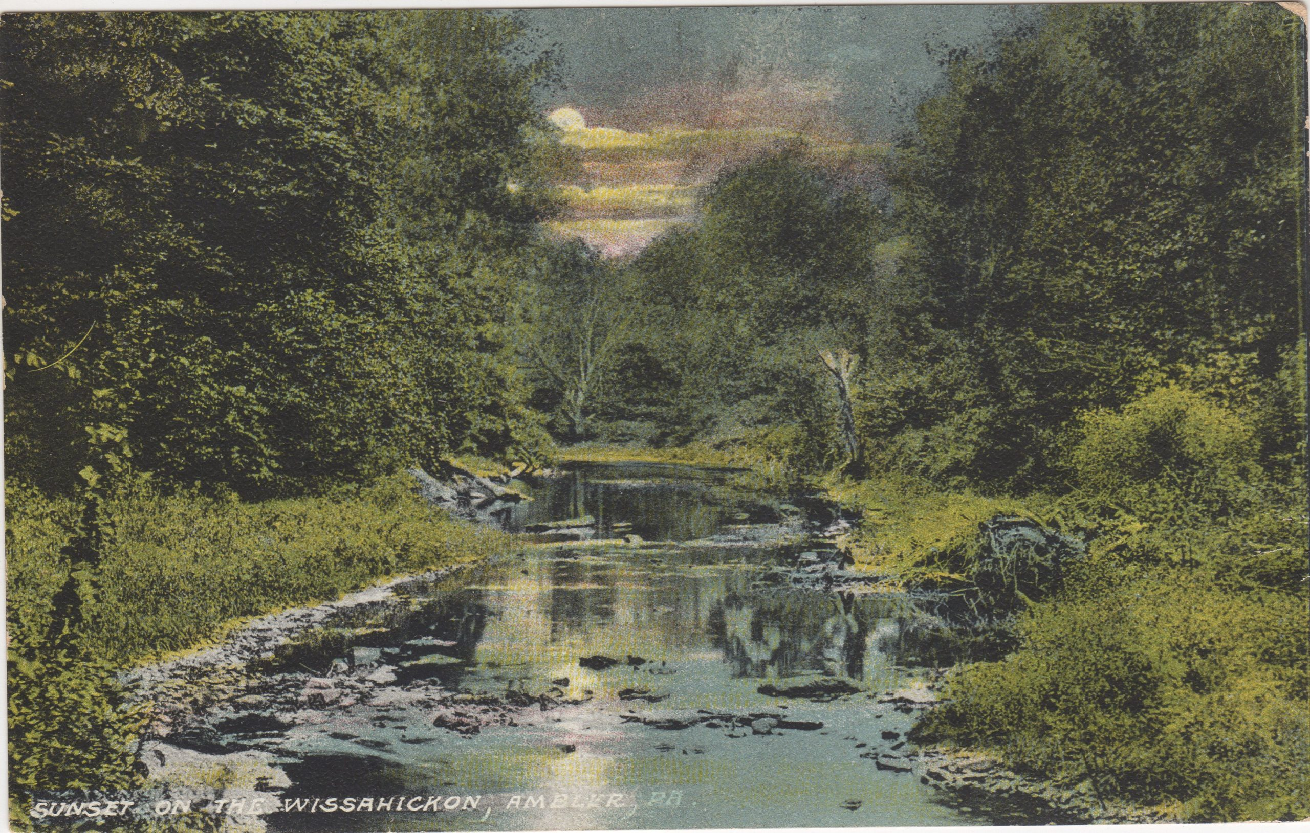 4125.38 Ambler Pa Postcard_Sunset on Wissahickon Creek_ circa 1913