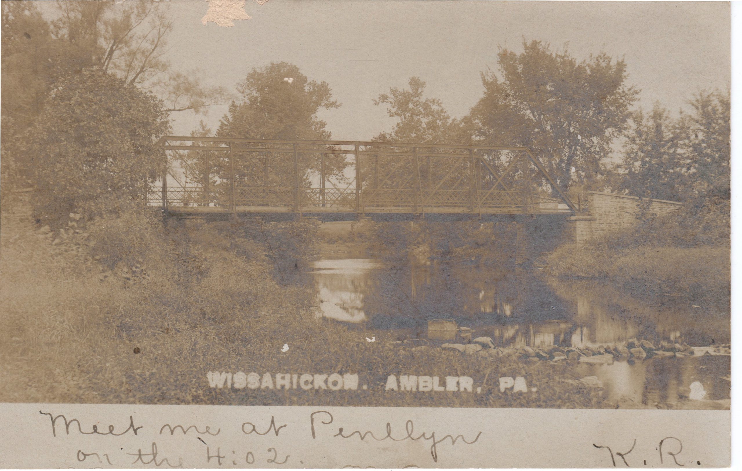 4125.39 Ambler Pa Postcard_Wissahickon Bridge North Ambler