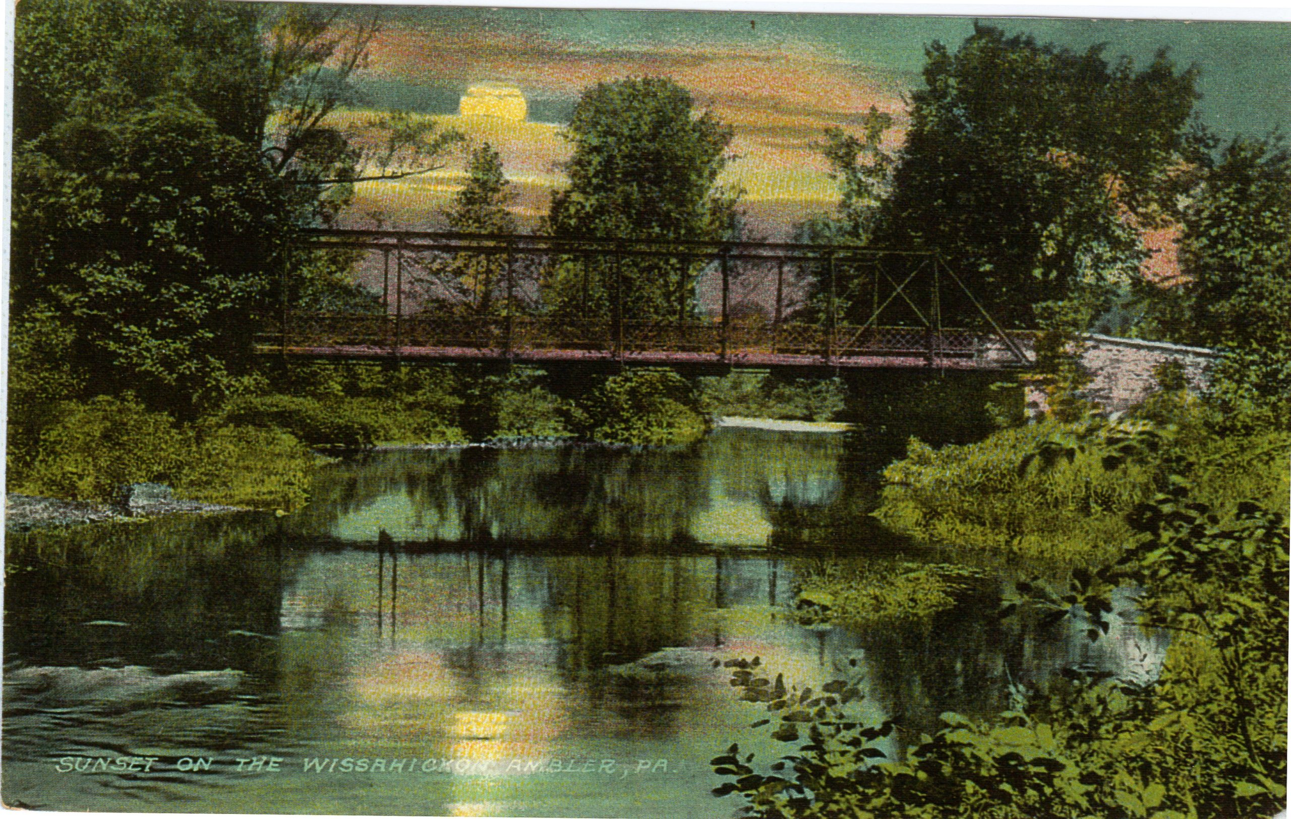4125.40 Ambler Pa Postcard_Sunset on the Wissahickon_circa 1912