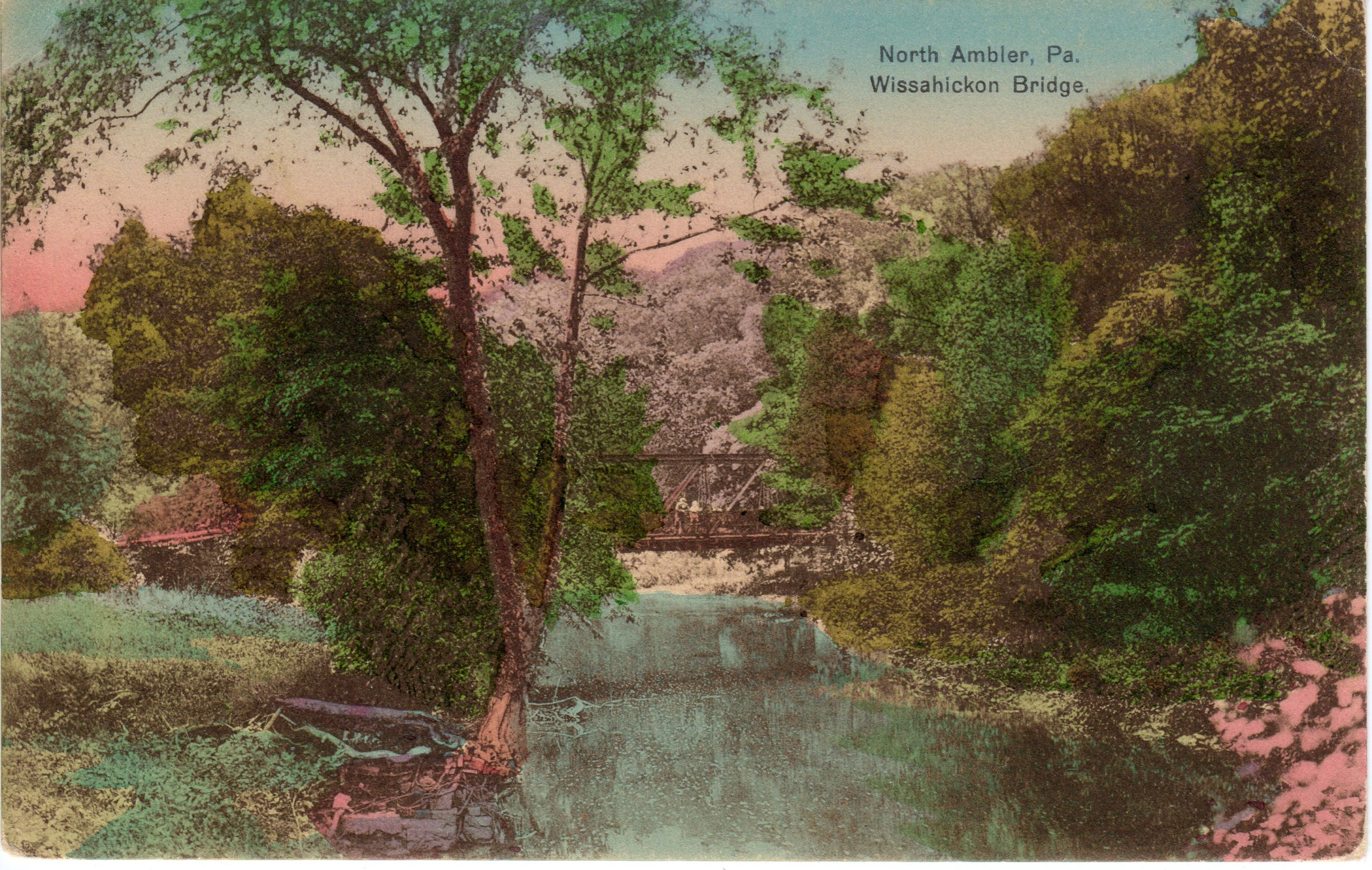 4125.41 Ambler Pa Postcard_Wissahickon Bridge North Ambler_circa 1909
