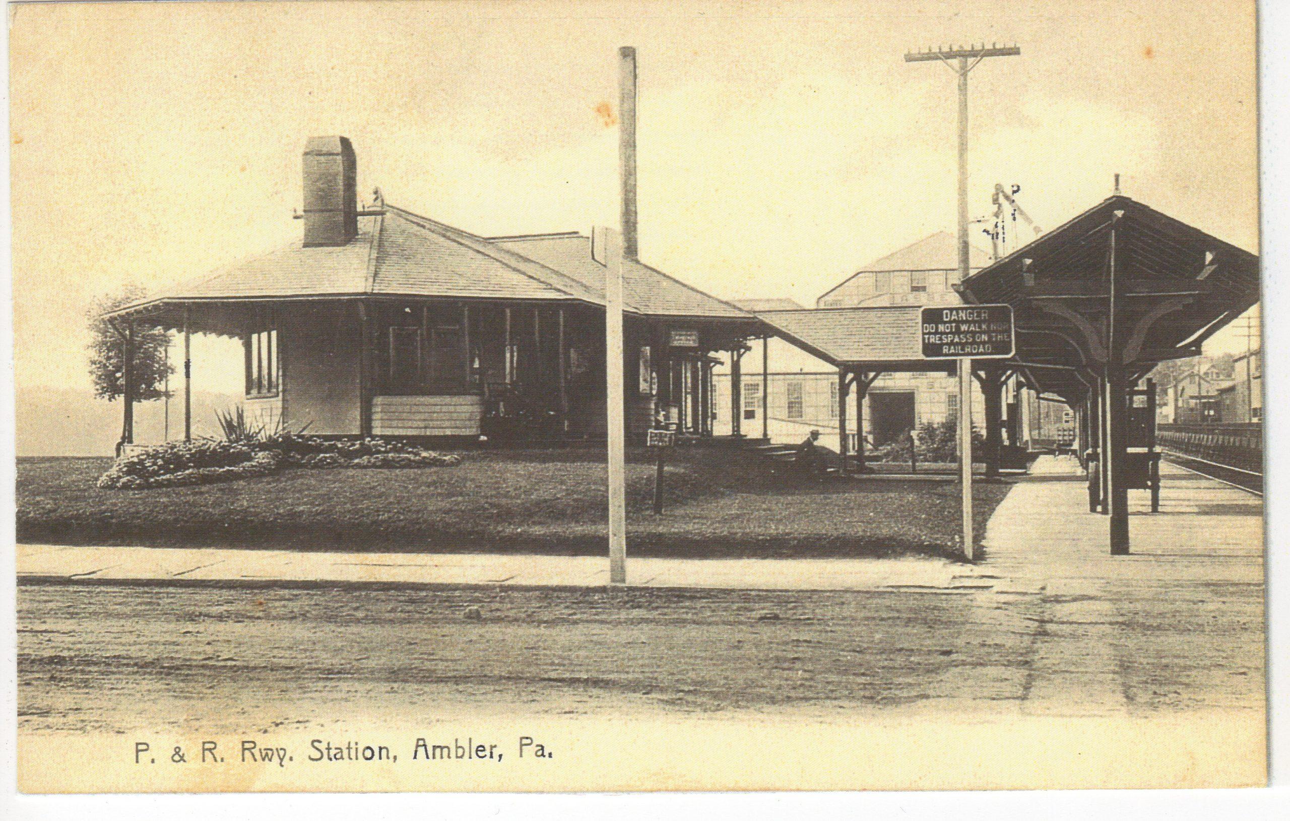 4125.43 Ambler Pa Postcard_P&R Rwy Station_circa 1912