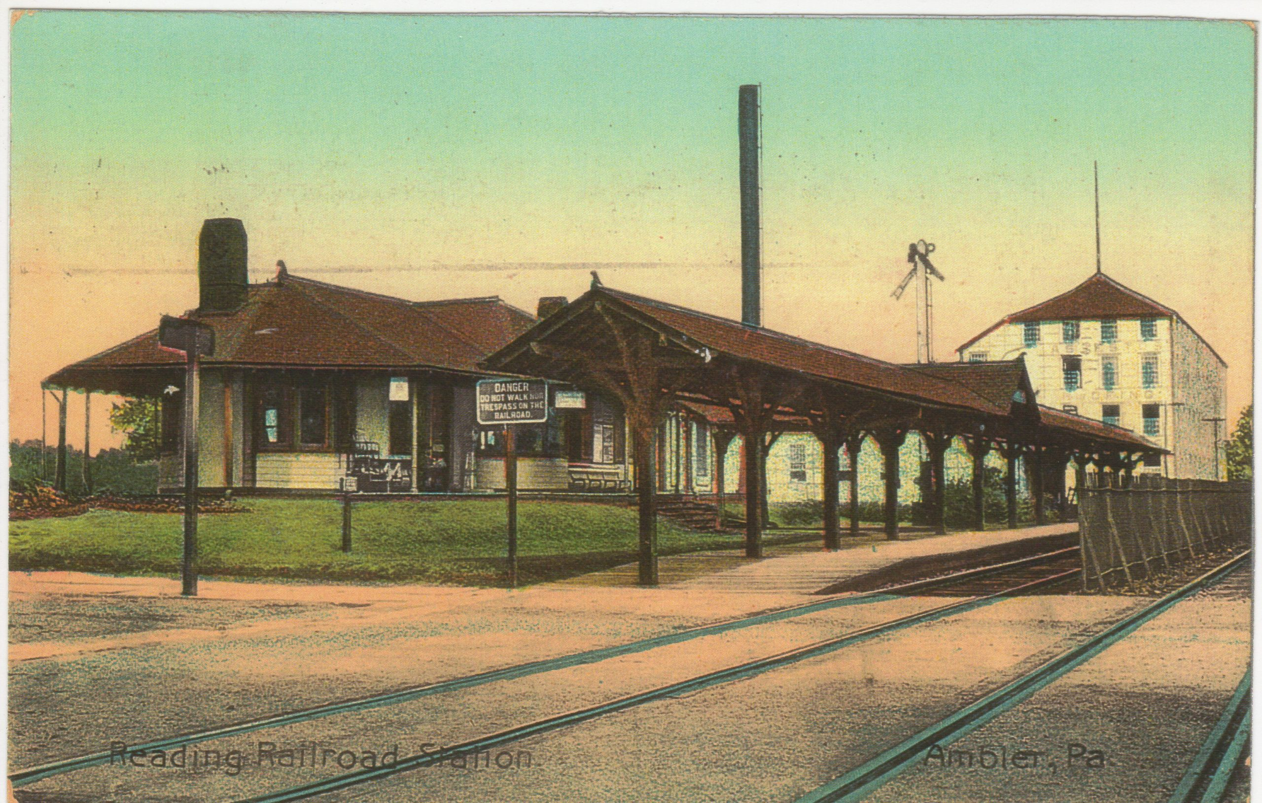 4125.44 Ambler Pa Postcard_Reading Railroad Station_circa 1912