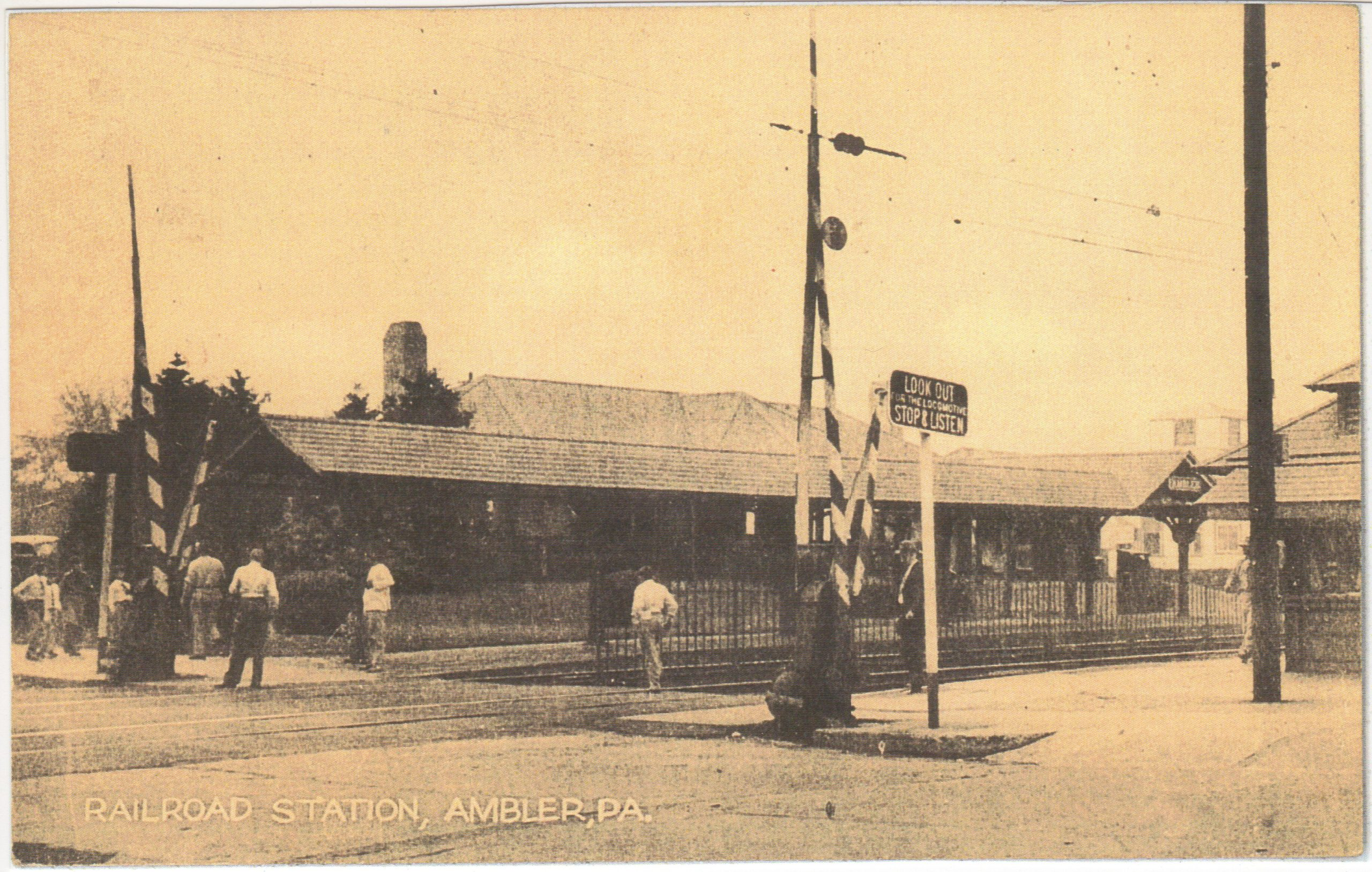 4125.45 Ambler Pa Postcard_Railroad Station_circa 1950