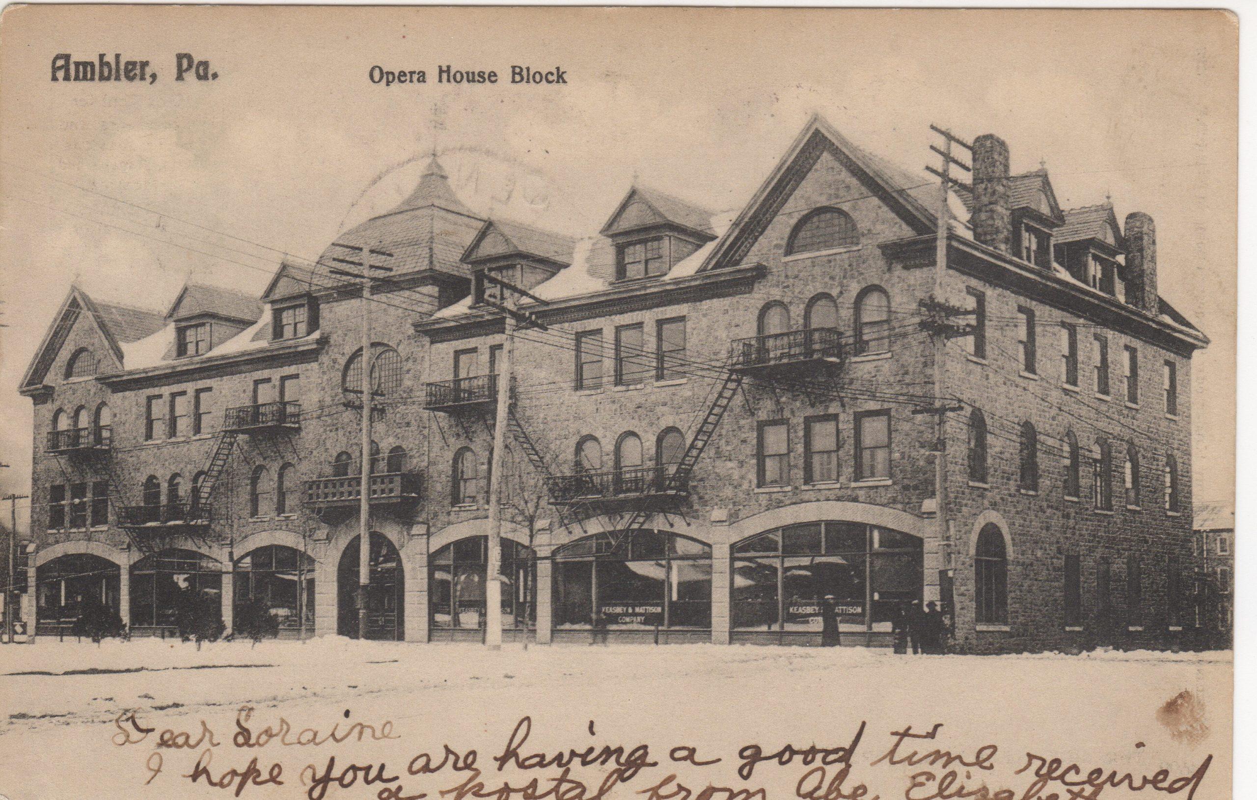 4125.49 Ambler Pa Postcard_Opera House_circa 1906