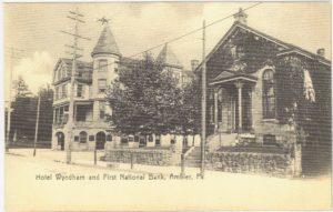 4125.56 Ambler Pa Postcard_Hotel Wyndham & First National Bank_circa 1907