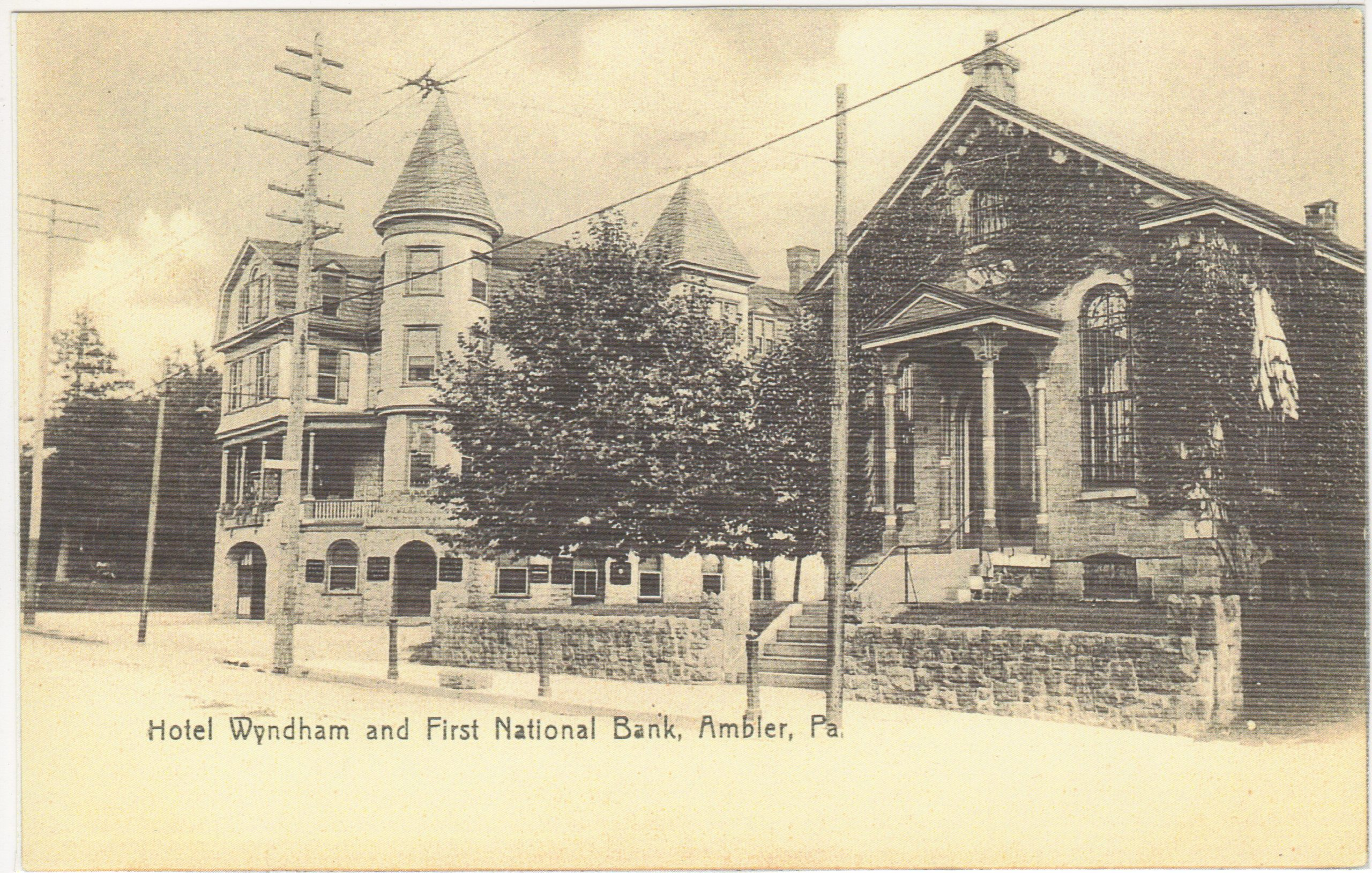 4125.56 Ambler Pa Postcard_Hotel Wyndham & First National Bank_circa 1907