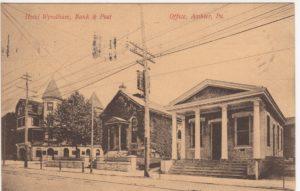 4125.57 Ambler Pa Postcard_Hotel Wyndham_Bank_Post Office_circa 1909