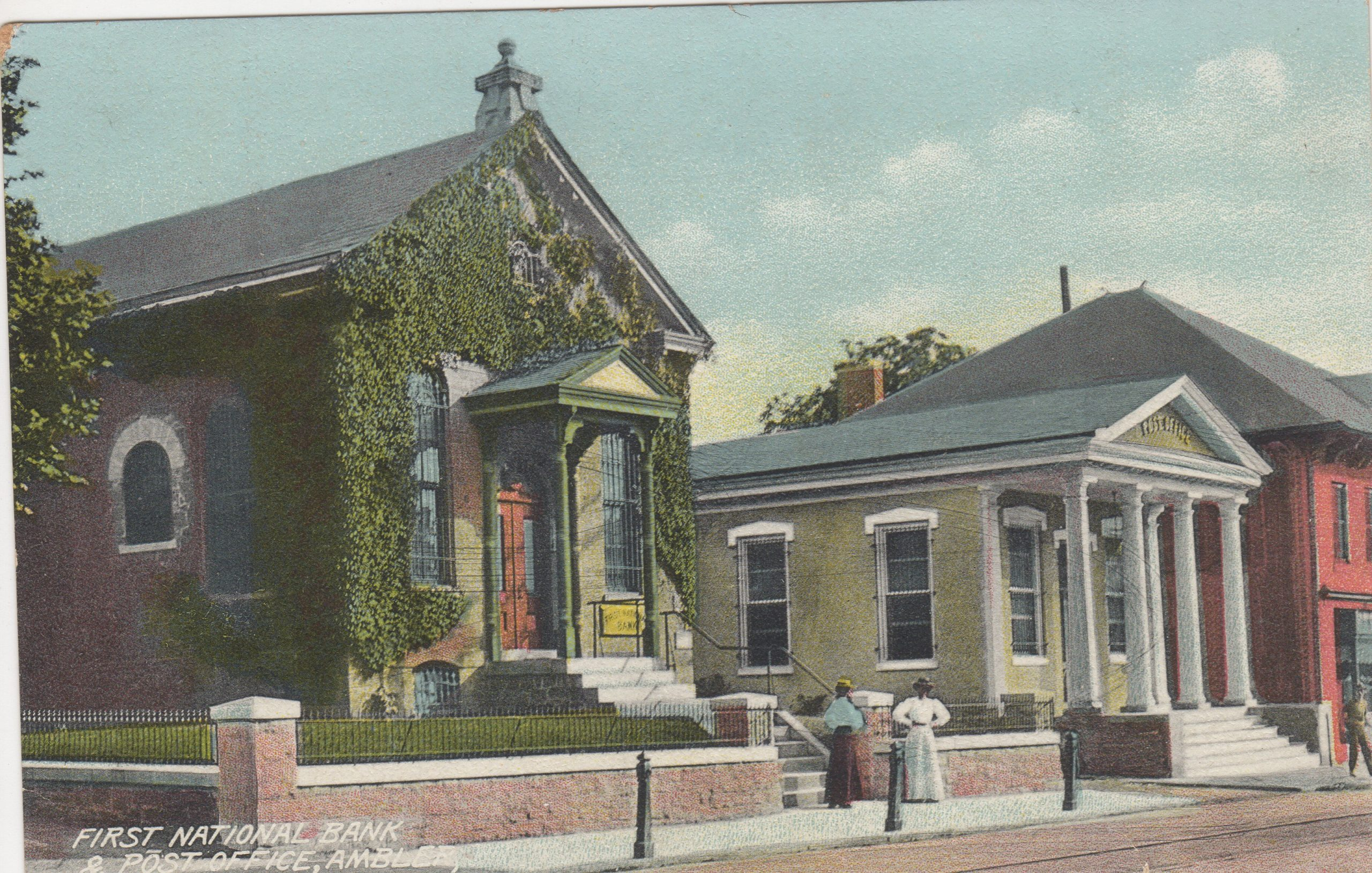 4125.58 Ambler Pa Postcard_First National Bank & Post Office_circa 1905