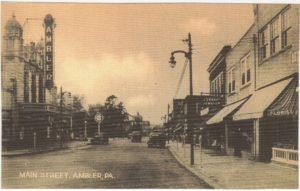 4125.69 Ambler Pa Postcard_Ambler Theater and Main Street (Actually Butler Ave)
