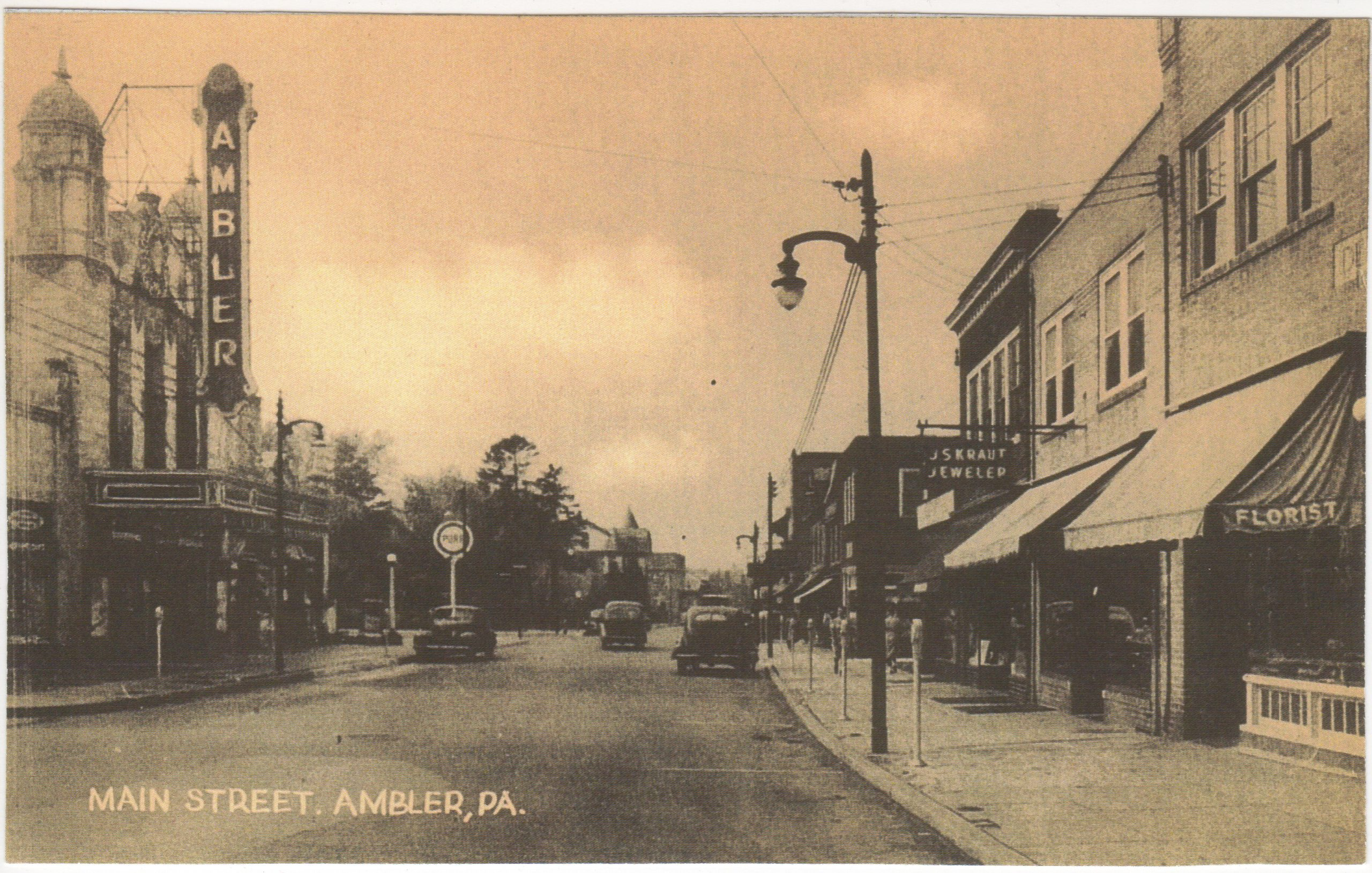 4125.69 Ambler Pa Postcard_Ambler Theater and Main Street (Actually Butler Ave)