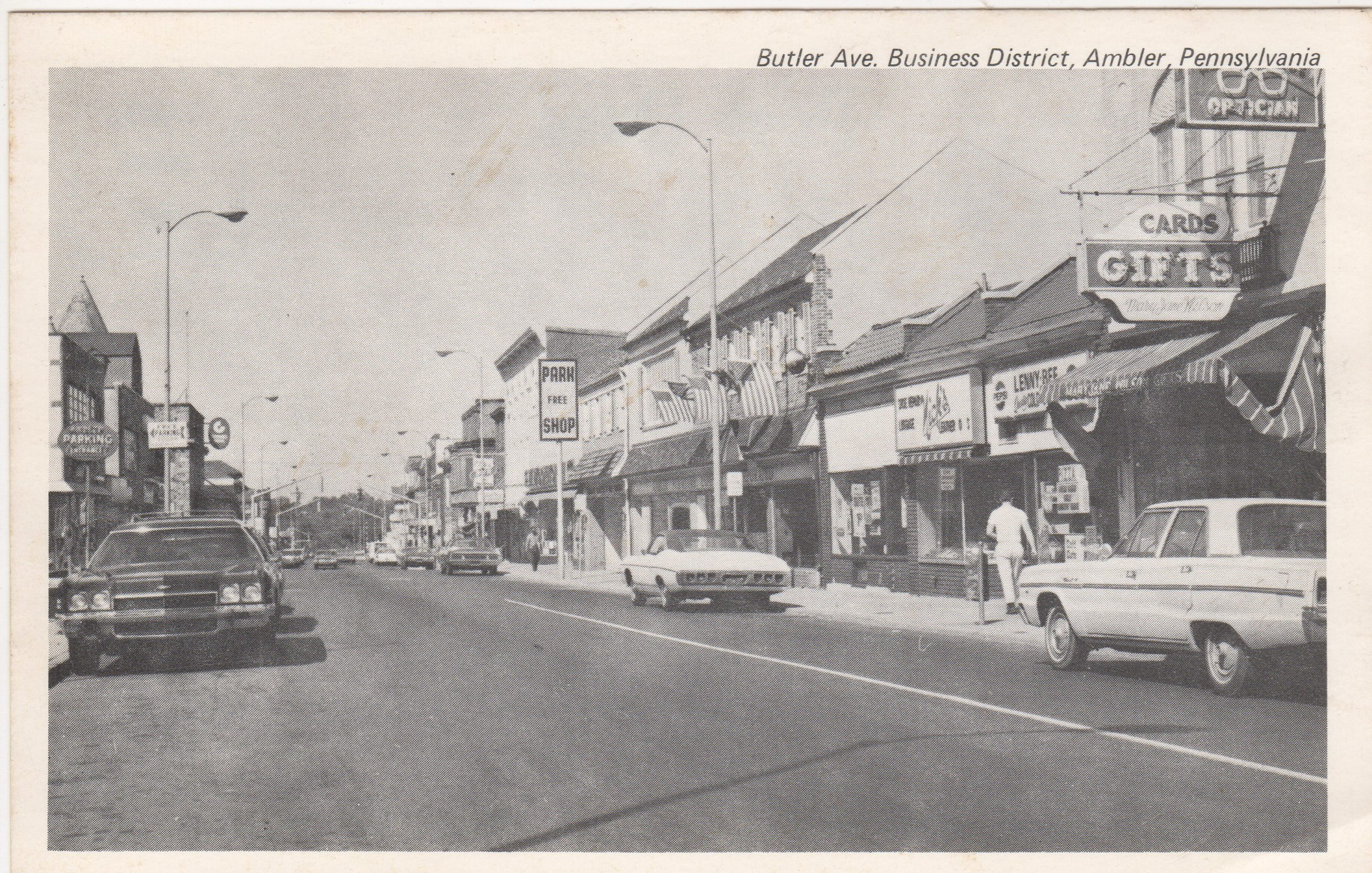 4125.71 Ambler Pa Postcard_Butler Ae Business District_circa 1964