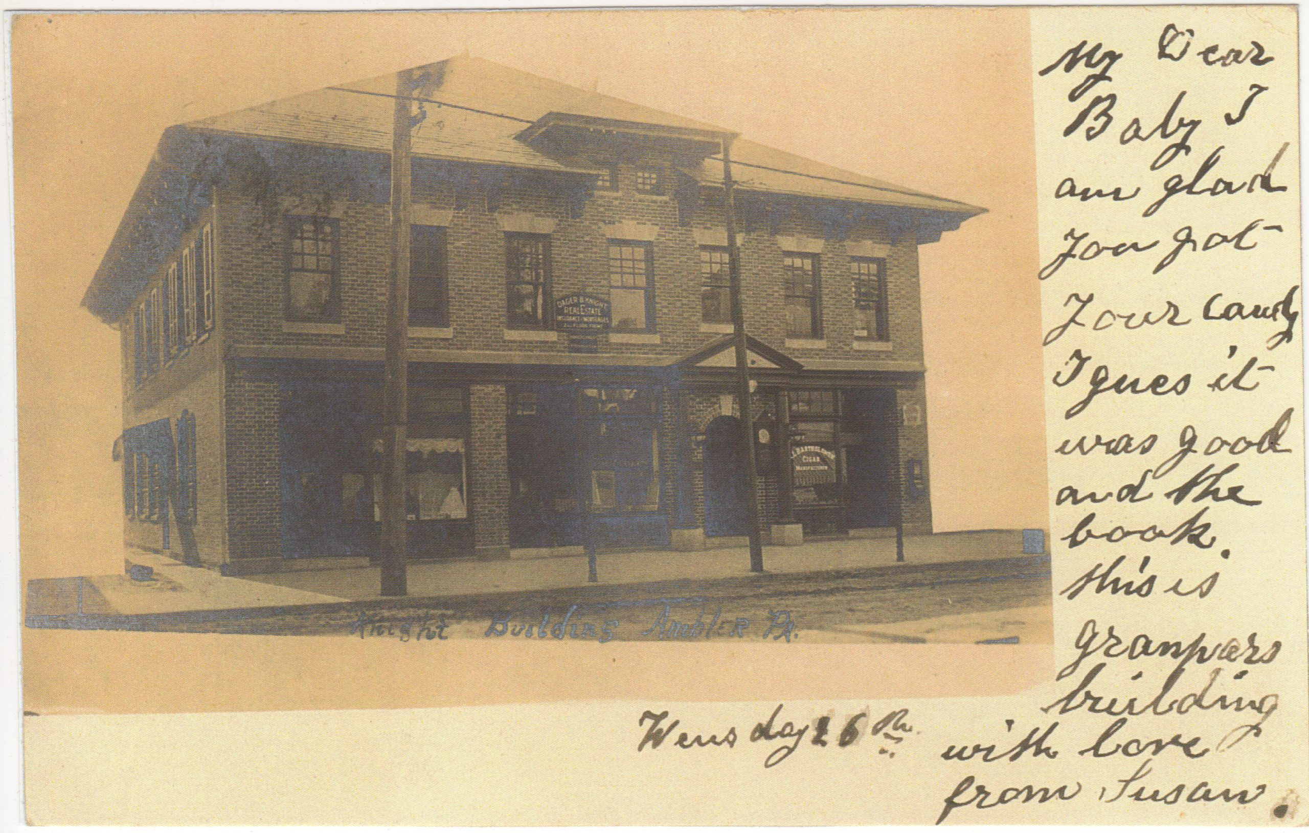 4125.77 Ambler Pa Postcard_Knight Building_circa 1906