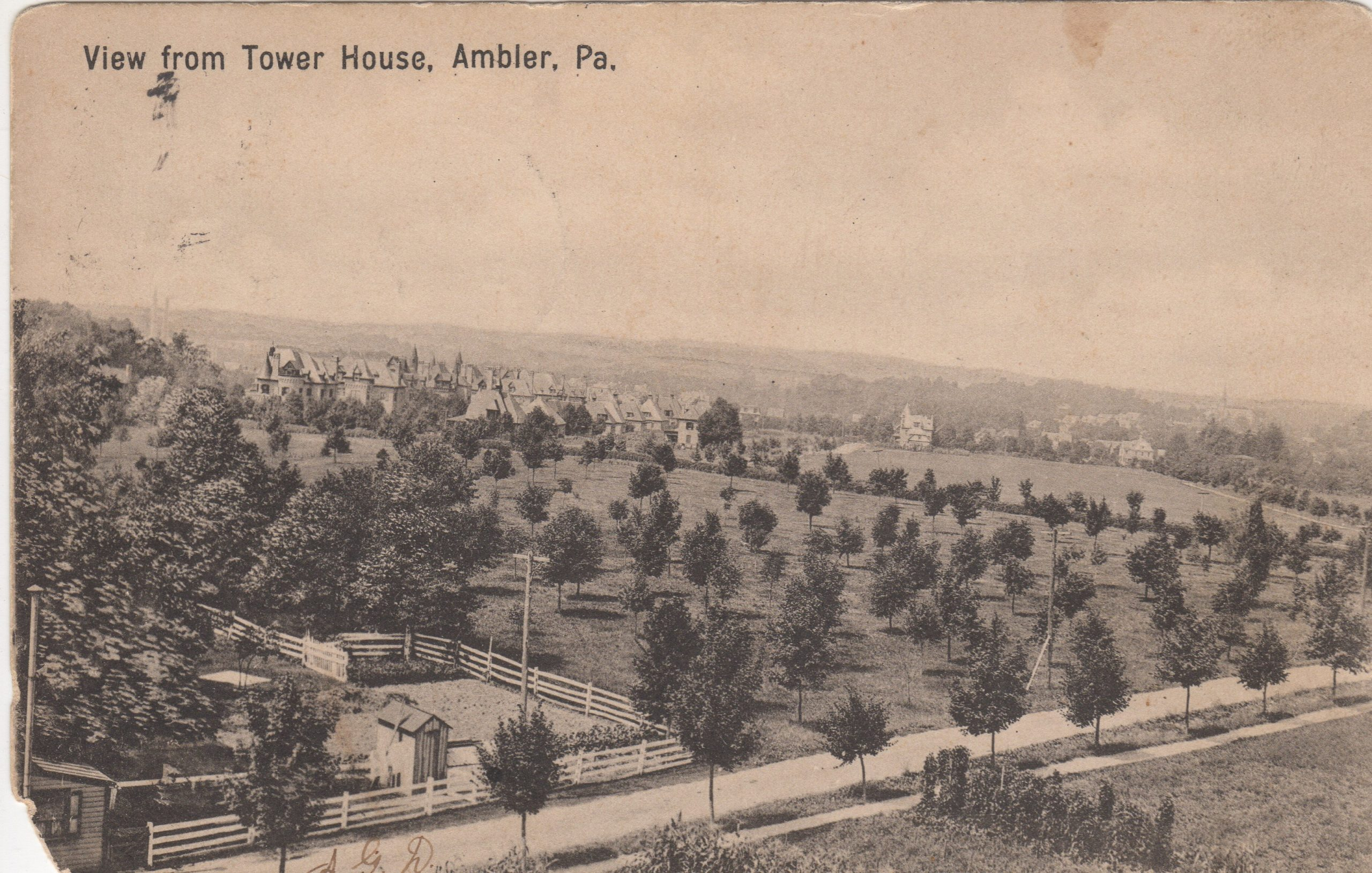 4125.86 Ambler Pa Postcard_View from Tower House_circa 1907