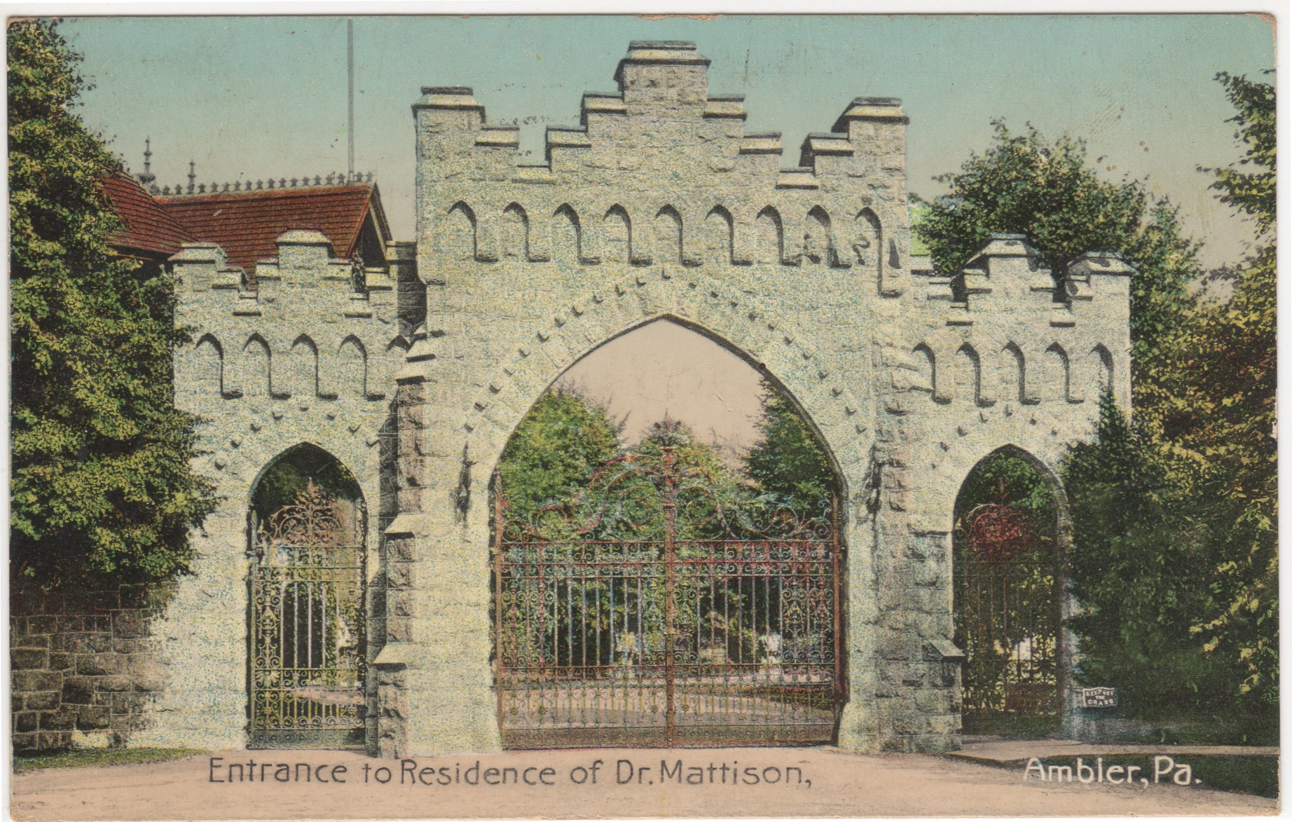 4125.95 Ambler Pa Postcard_Entrance to Residence of Dr Mattison_circa 1912
