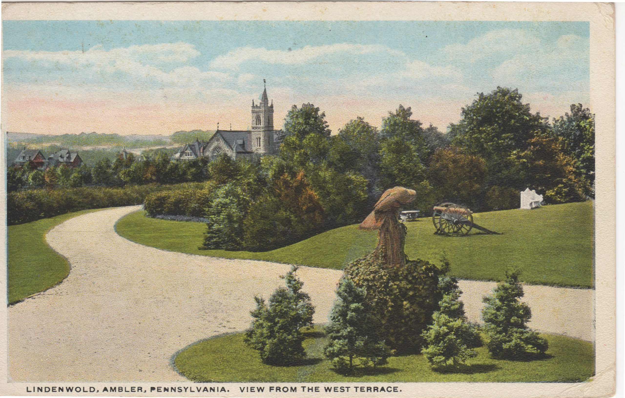 4125.99 Ambler Pa Postcard_Lindenwold View from the West Terrace_circa 1919