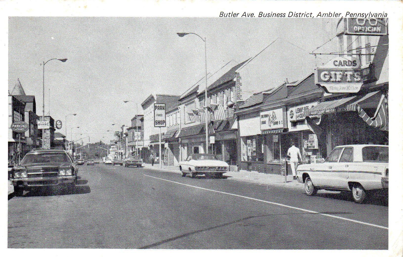 Post Card Collection (E Simon)_2682_03_Butler Ave, Business District, Ambler, Pa_18 Jun 1973