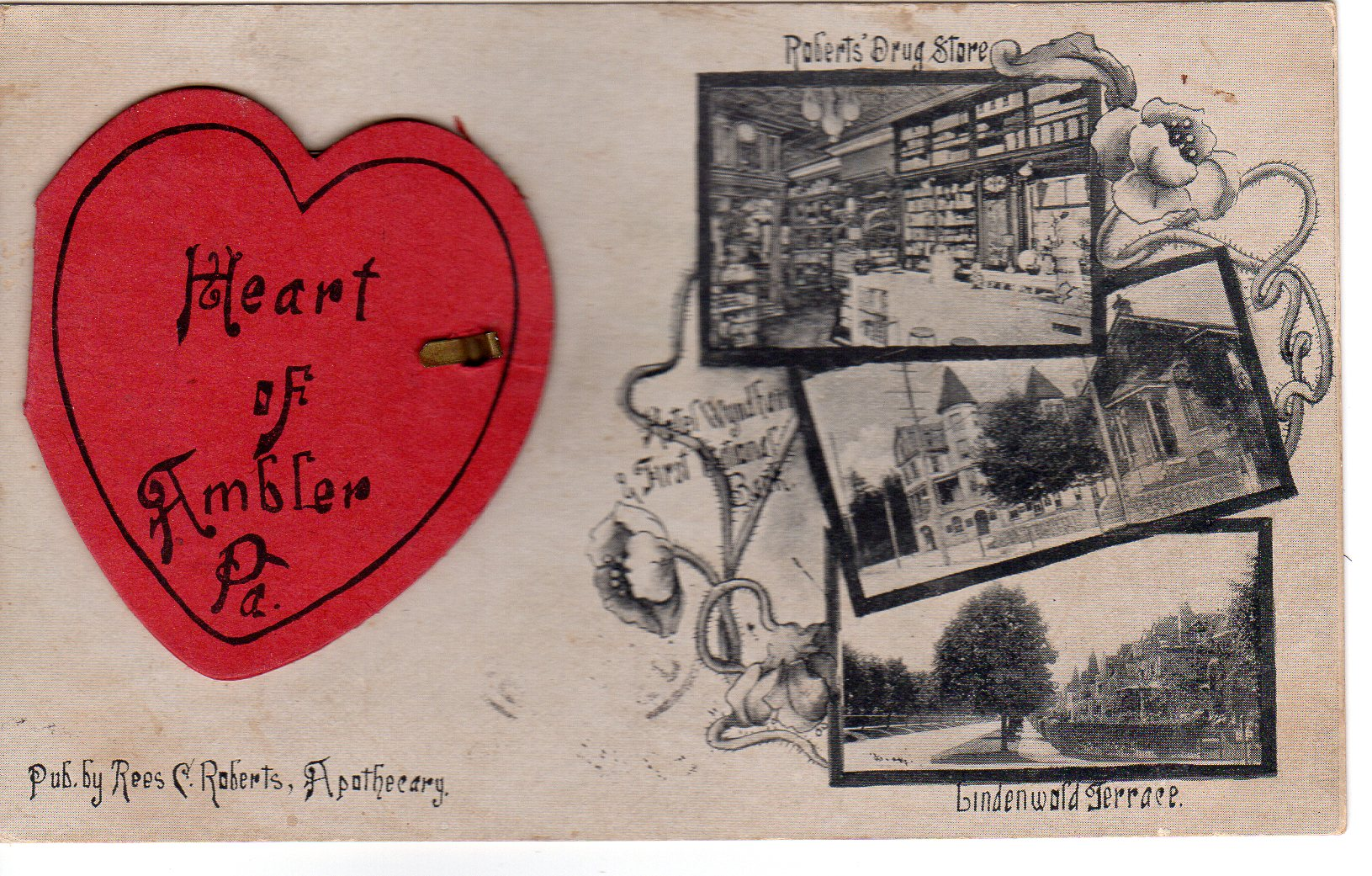 Post Card Collection (E Simon)_2682_05_Heart of Ambler (Roberts Drug Store, Wyndham, First Nat Bank, Lindenwold Terr)_22 Oct 1907