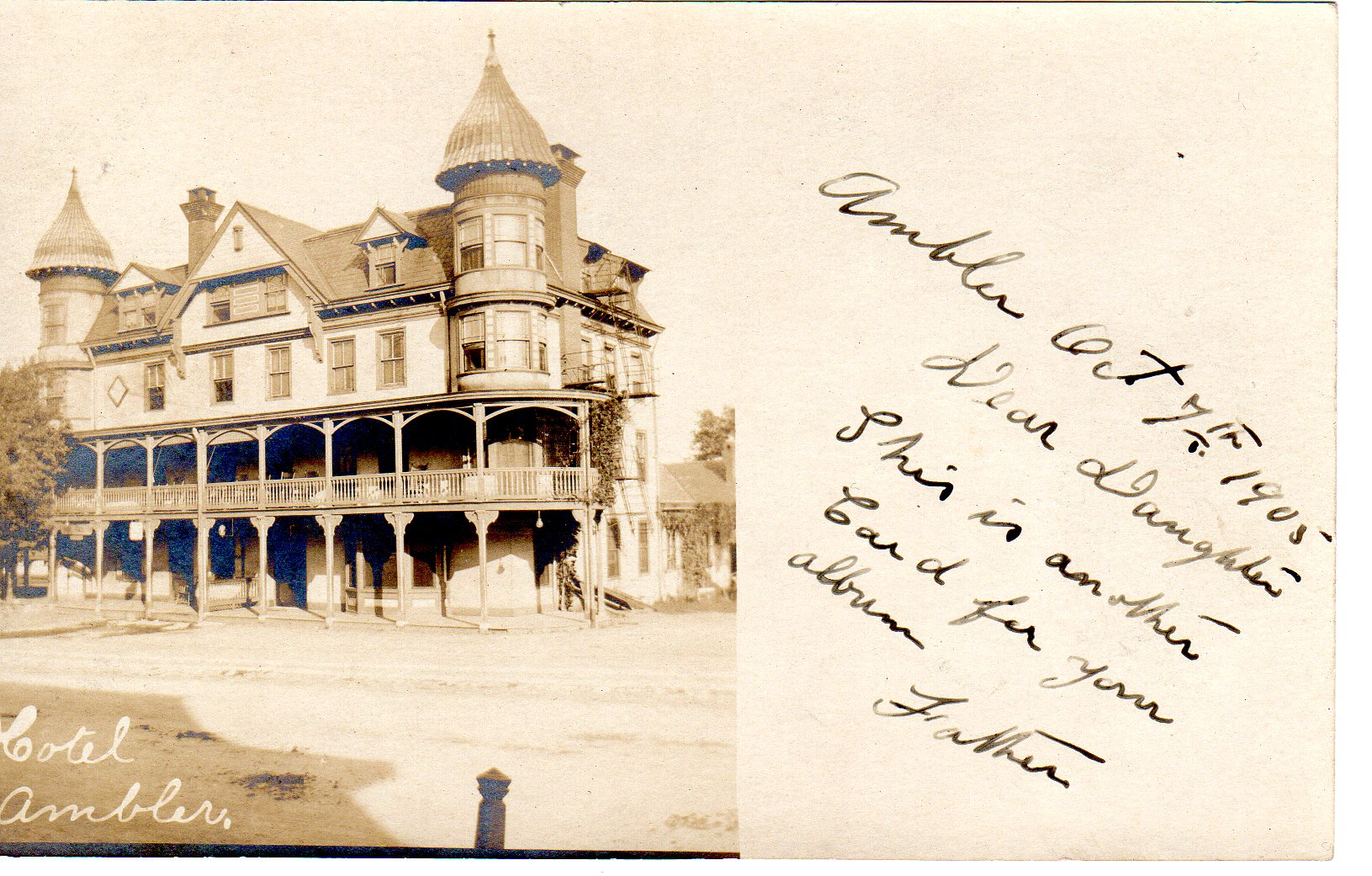 Post Card Collection (E Simon)_2682_06_Hotel Ambler_7 Oct 1905