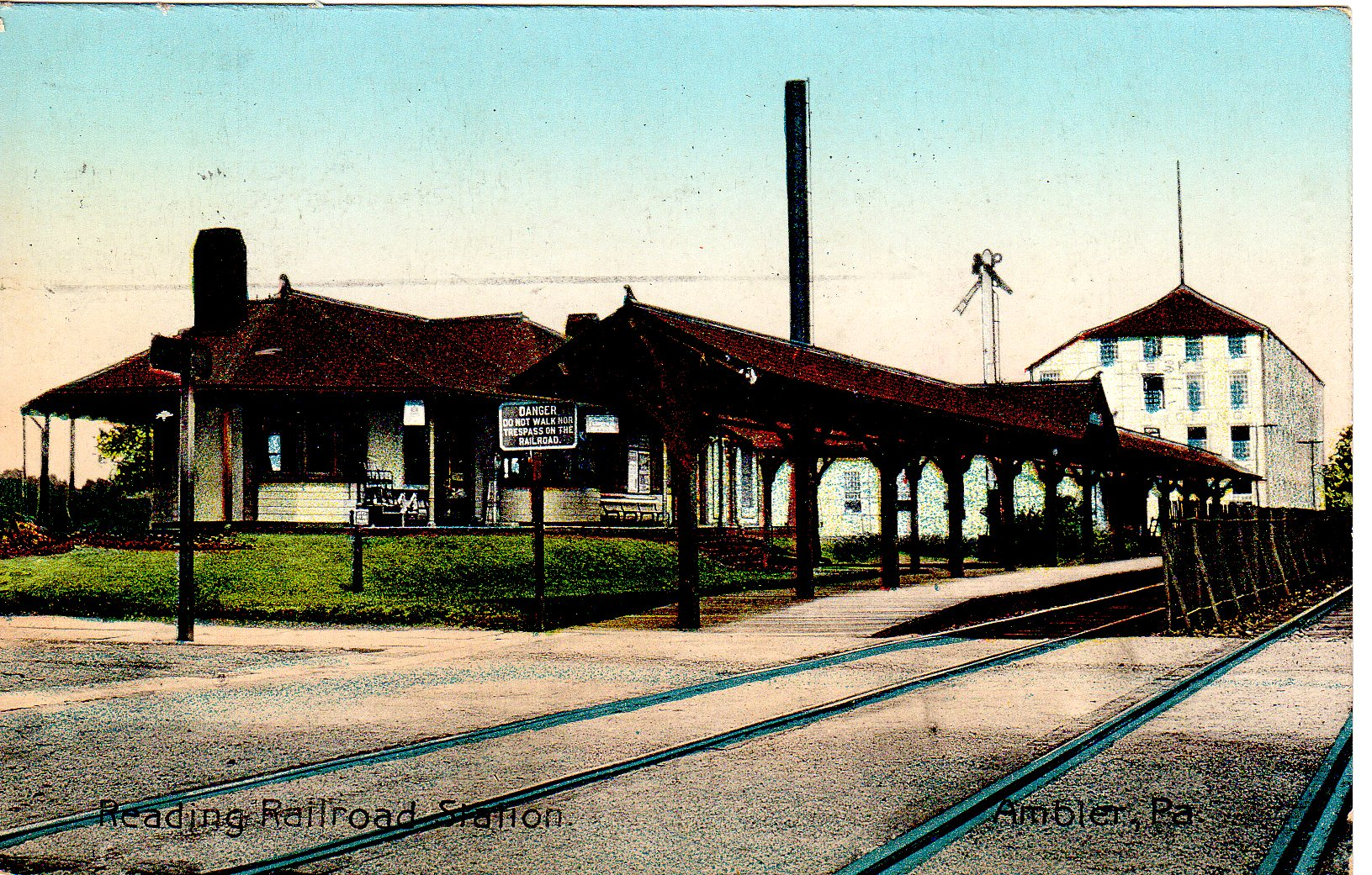 Post Card Collection (E Simon)_2682_07_Reading RR Station, Ambler, Pa_1912