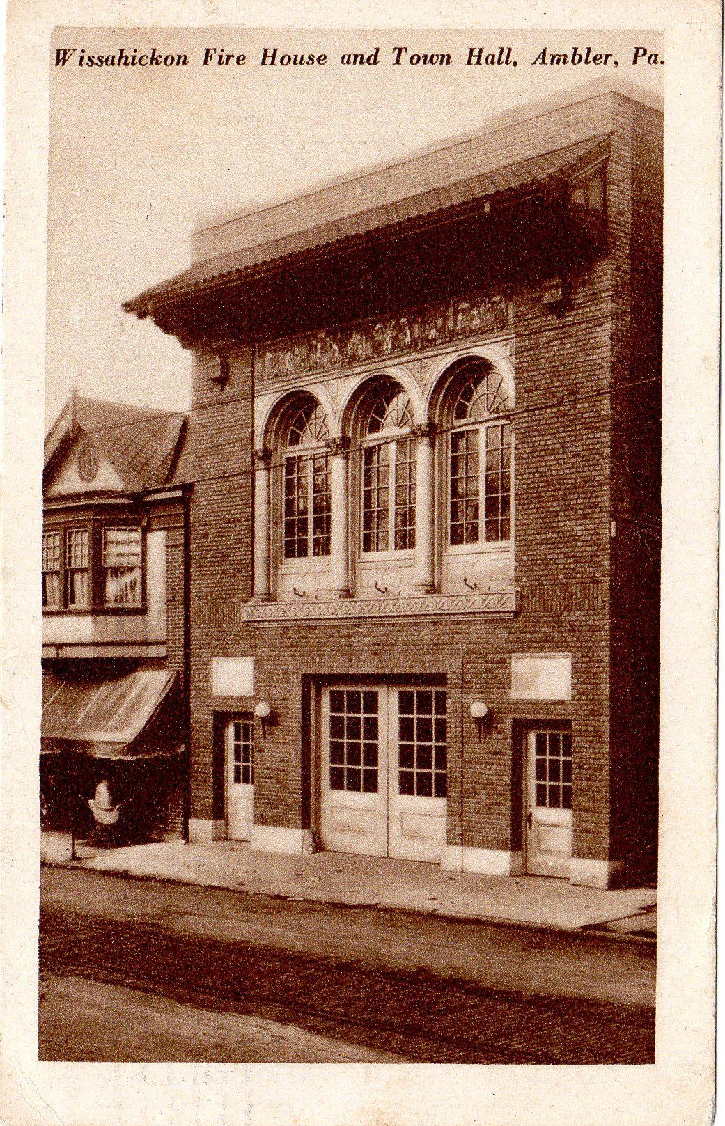 Post Card Collection (E Simon)_2682_10_Wissahickon Fire House & Town Hall, Ambler, Pa_Sep 1926