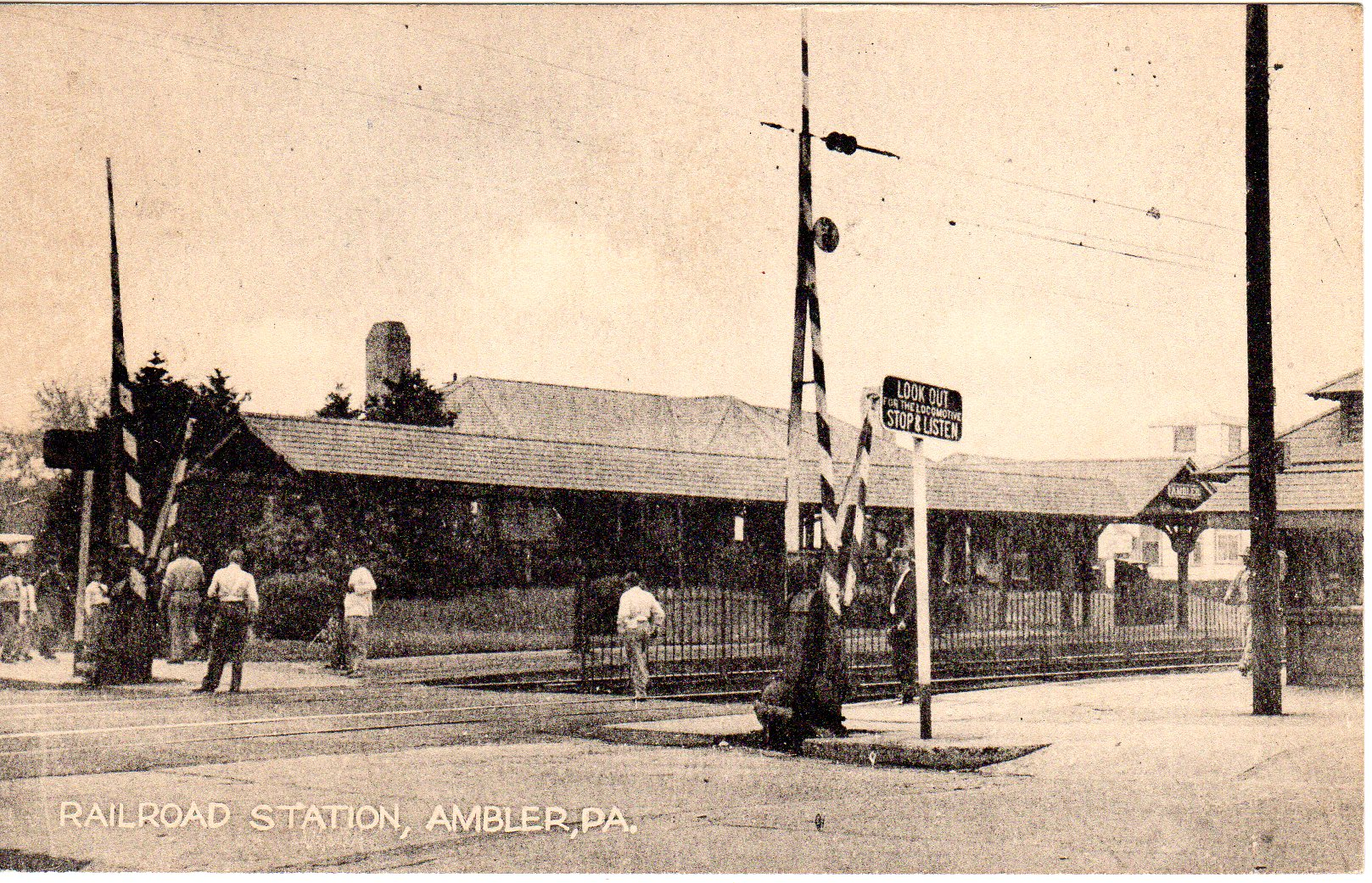 Post Card Collection (E Simon)_2682_11_Railroad Station, Ambler, Pa_7 Apr 1950