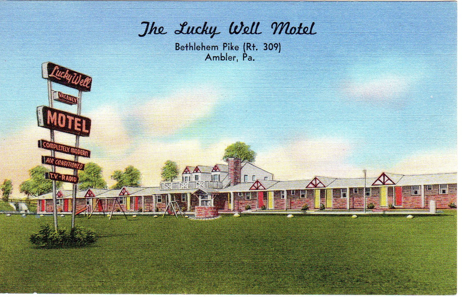Post Card Collection (E Simon)_2682_13_Lucky Well Motel, Bethlehem Pike (Rt 309), Ambler, Pa