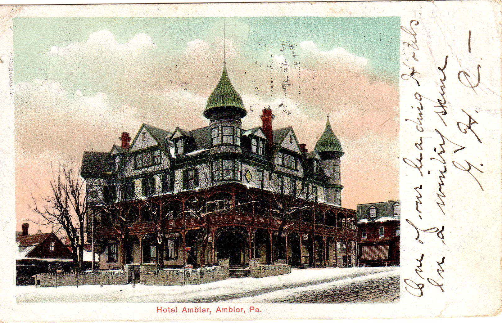 Post Card Collection (E Simon)_2682_14_Hotel Ambler, Ambler, Pa_7 Sep 1906