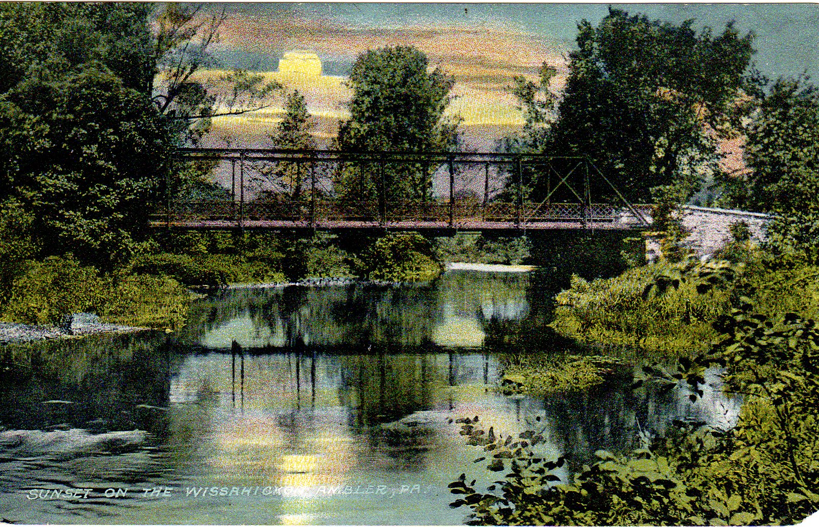Post Card Collection (E Simon)_2682_20_Sunset on the Wissahickon, Ambler, Pa_1912