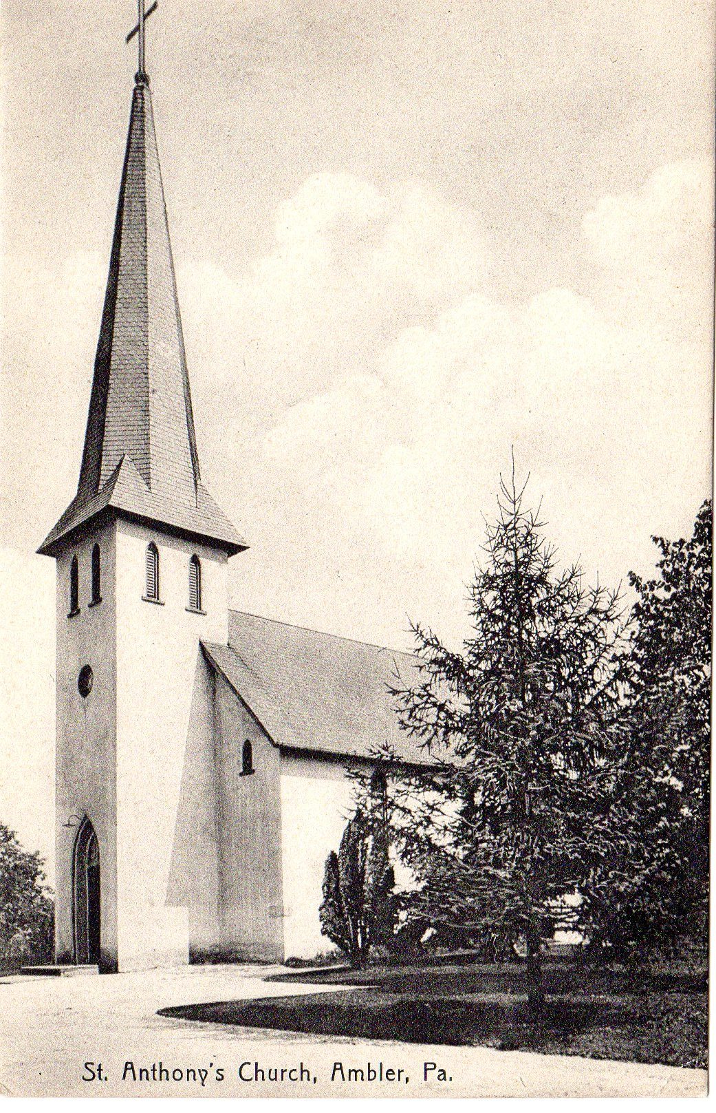 Post Card Collection (E Simon)_2682_25_St Anthonys Catholic Church, Ambler, Pa