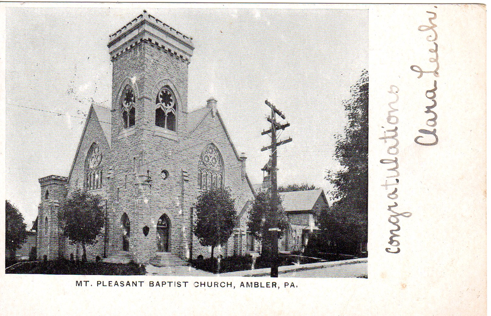 Post Card Collection (E Simon)_2682_27_Mt Pleasant Baptist Church, Ambler, Pa_30 Jan 1906