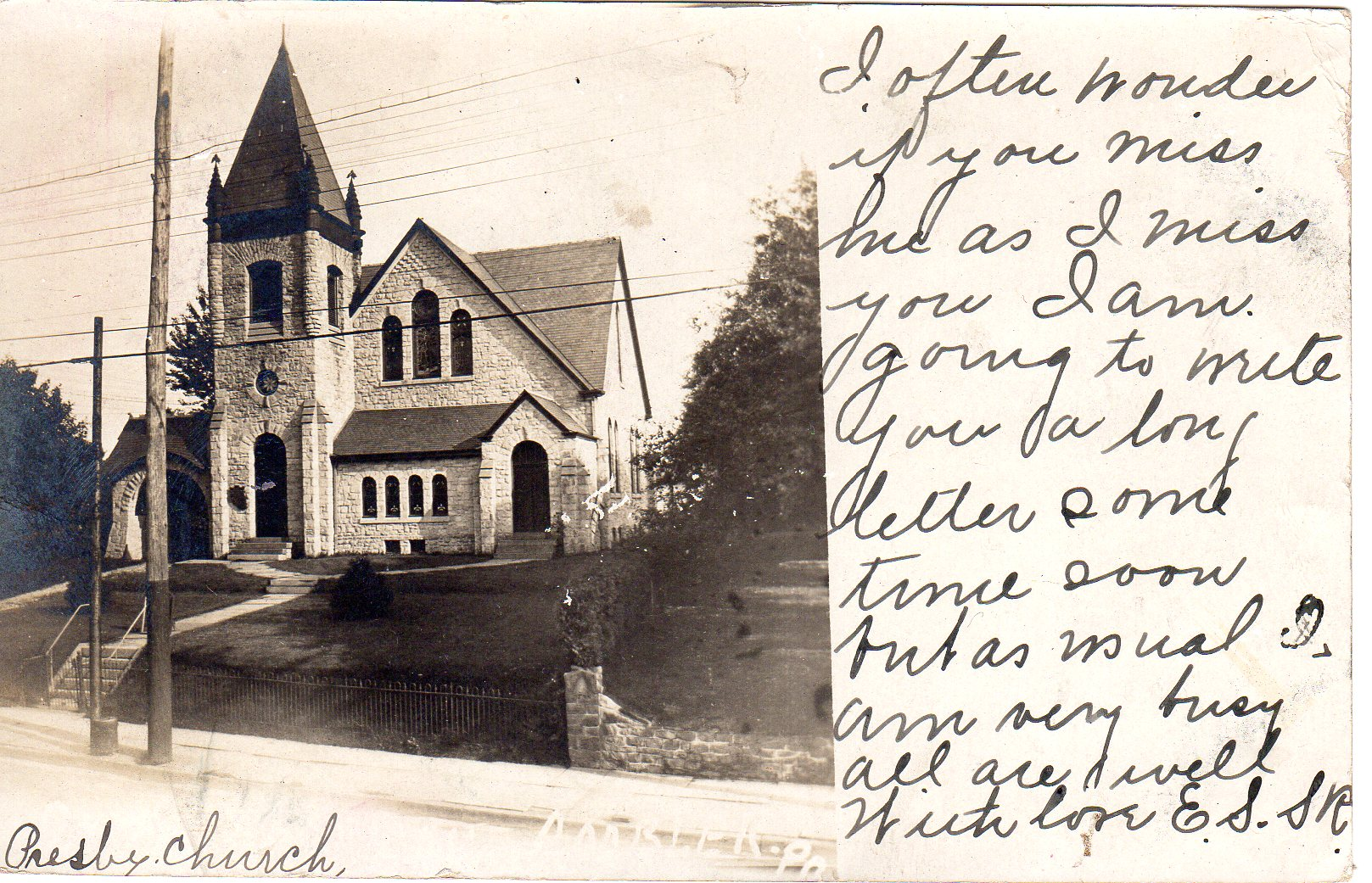 Post Card Collection (E Simon)_2682_28_First Presbyterian Church, Ambler, Pa_Sep 1909