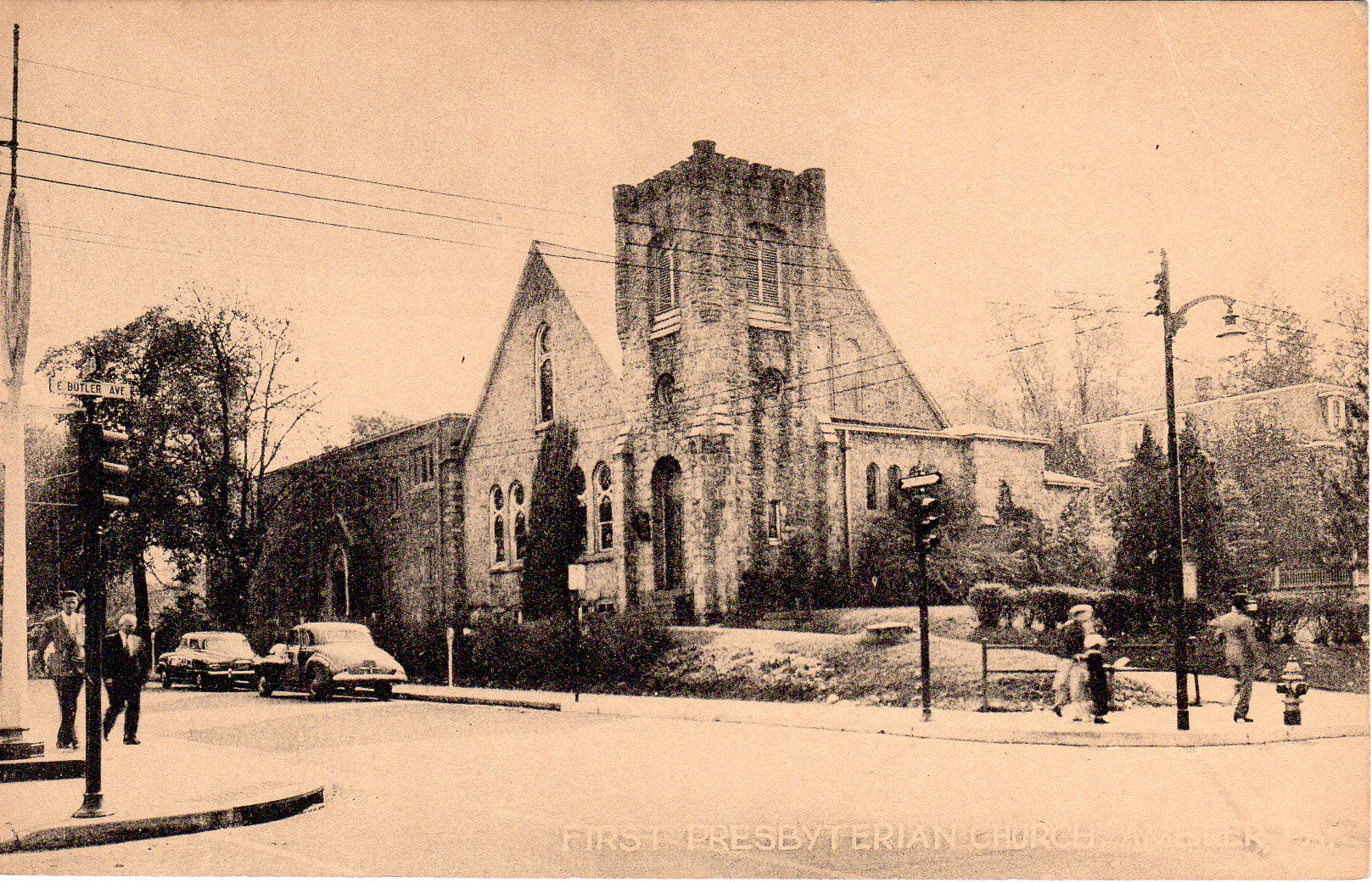 Post Card Collection (E Simon)_2682_31_First Presbyterian Church, Ambler, Pa_17 Jul 1955