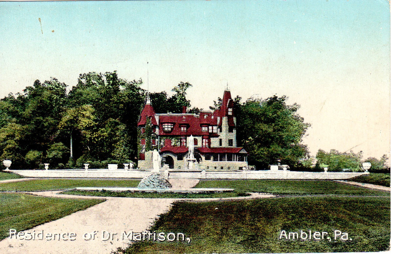Post Card Collection (E Simon)_2682_34_Residence of Dr Mattison, Ambler, Pa