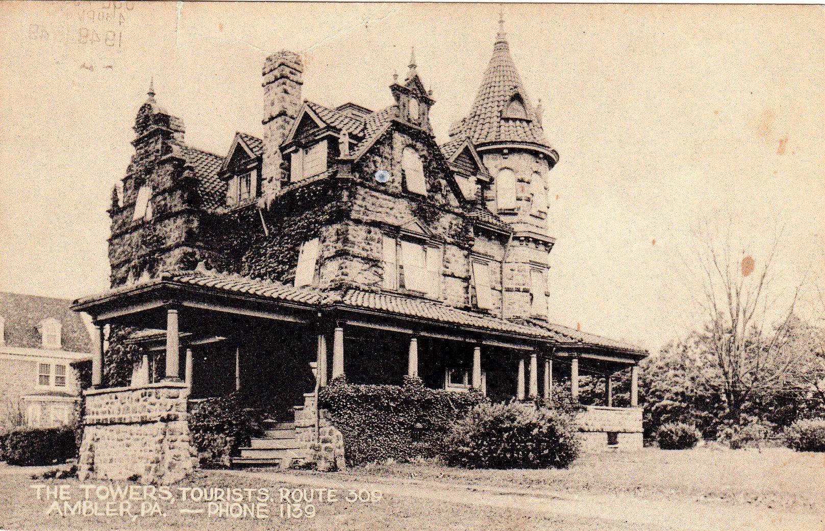 Post Card Collection (E Simon)_2682_37_The Towers (Tourist Rt 309), Ambler, Pa_21 Jul 1949